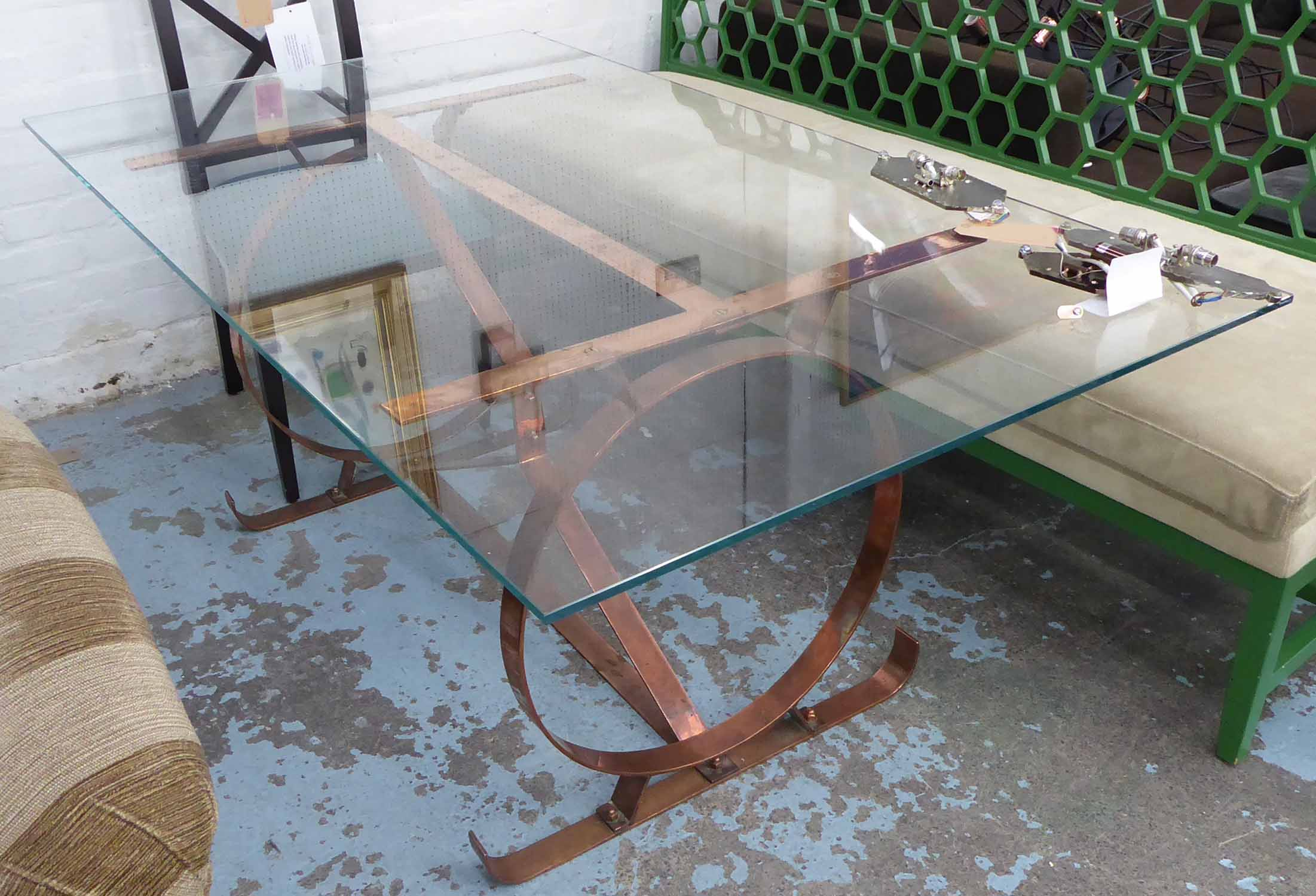Lot 51 - DESK, vintage copper base with tempered glass top, 102cm x 78cm x 73cm.