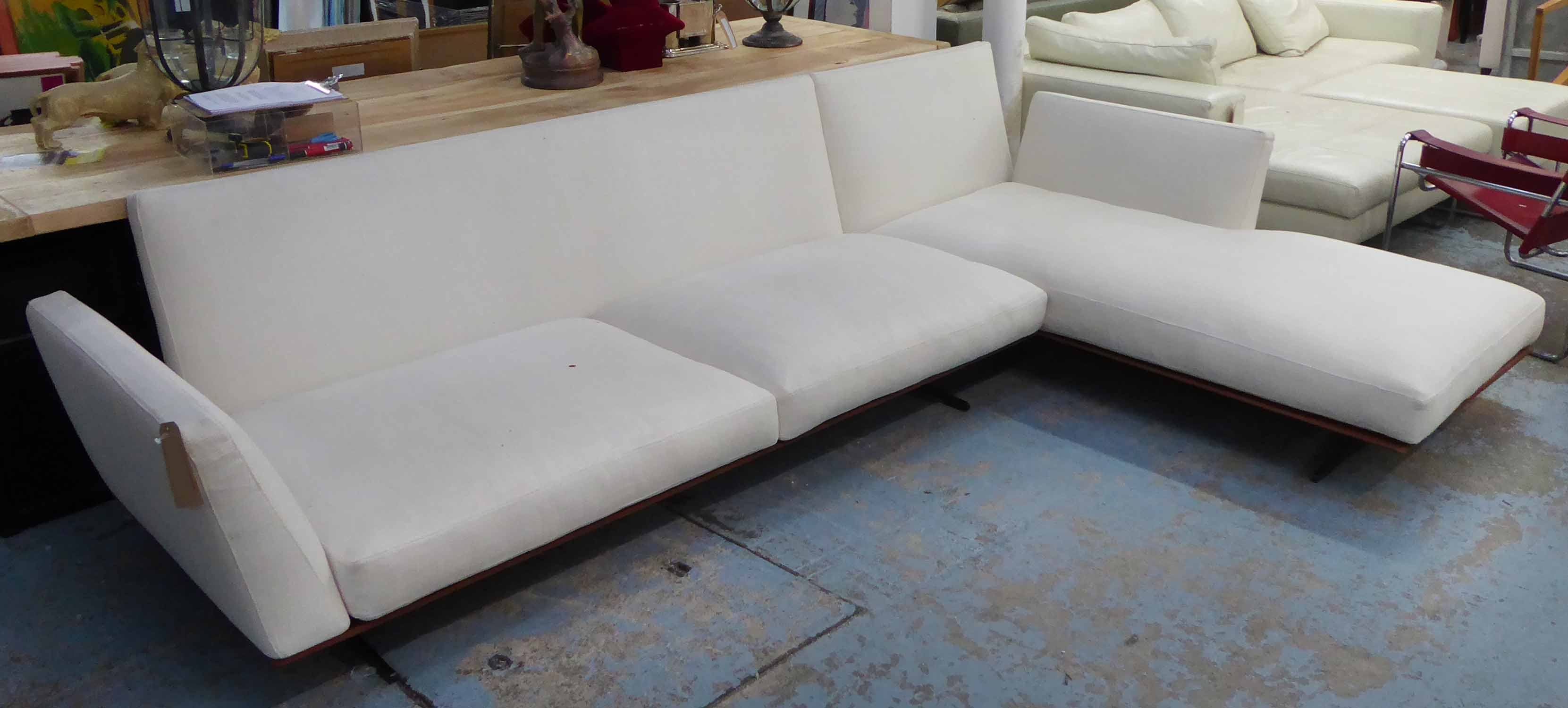 Lot 58 - CORNER SOFA, white woven fabric, by Flexform, approx.