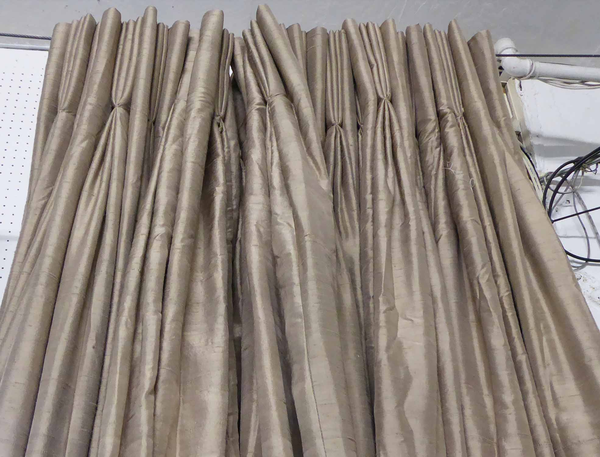 Lot 55 - CURTAINS, three pairs, bronze silk lined and interlined,
