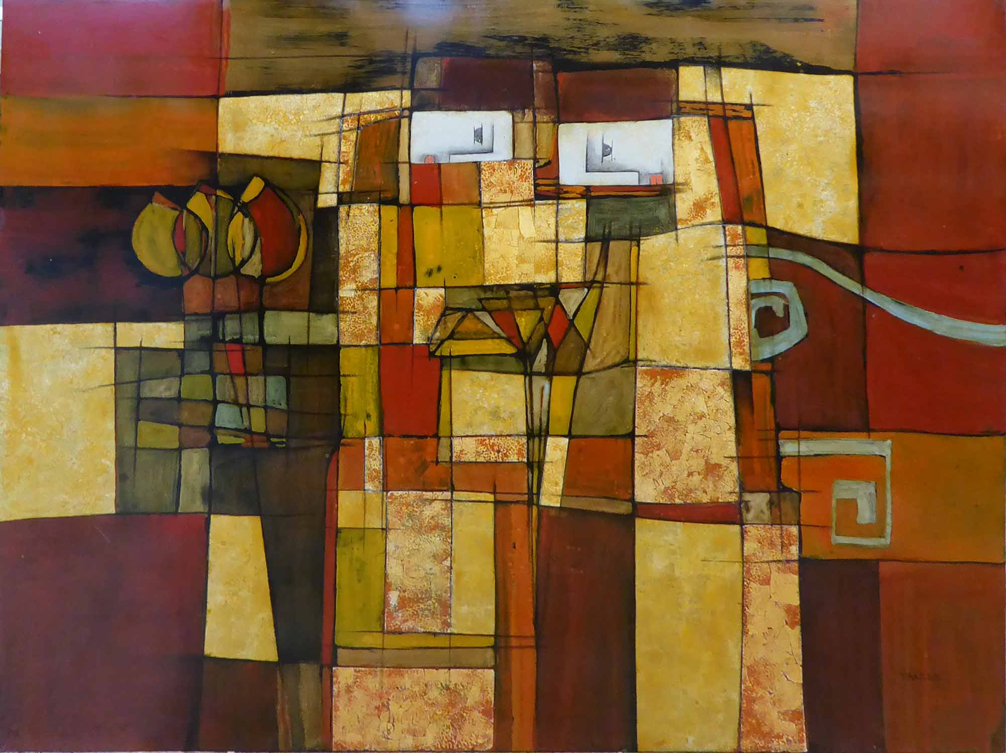 Lot 48 - VIETNAMESE LACQUERED PANEL, of abstract form, signed Tbad 2011, 122cm x 95cm.