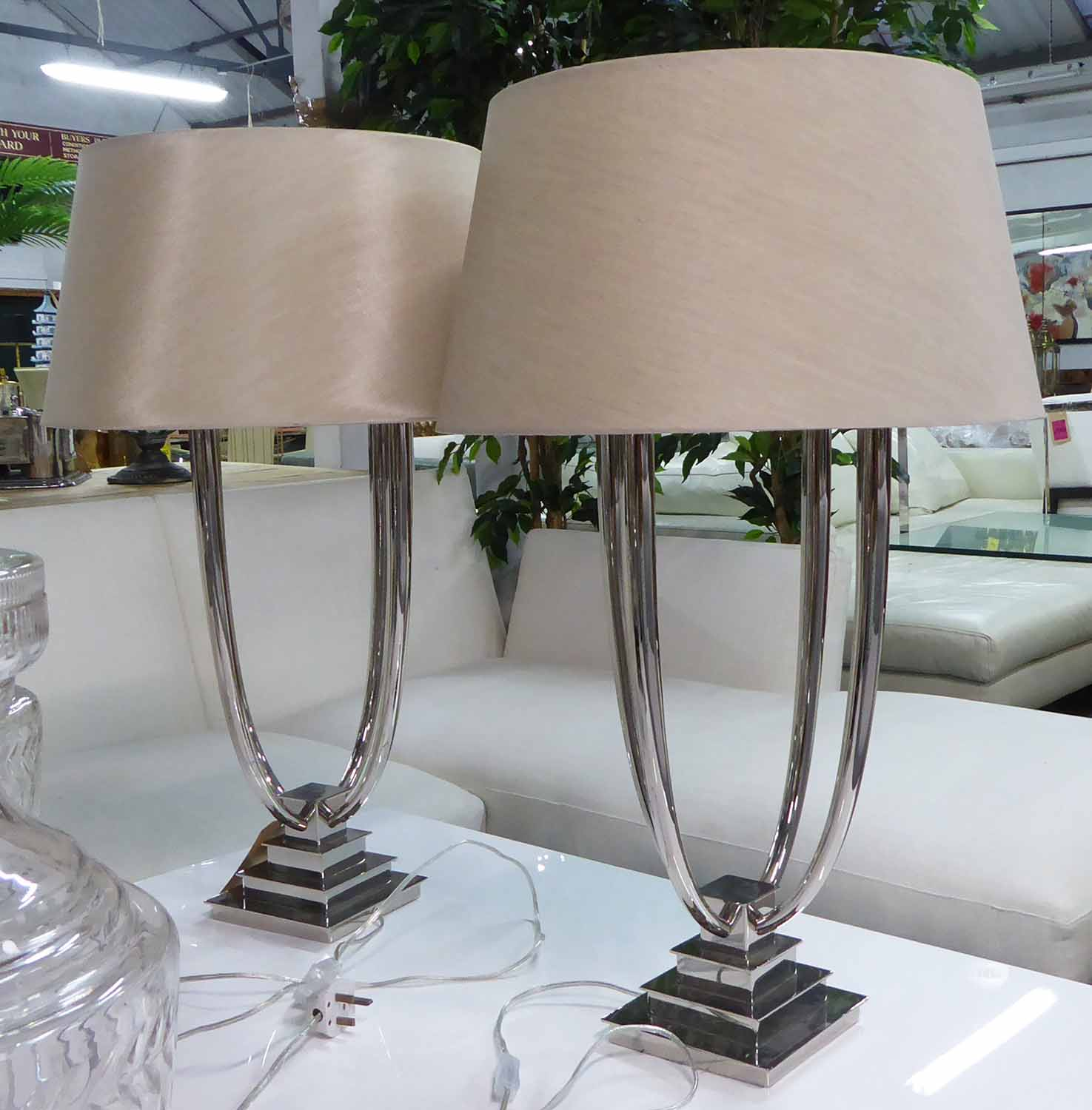 Lot 29 - R V ASTLEY AURORA TABLE LAMPS, a pair, with shades, 86cm H.