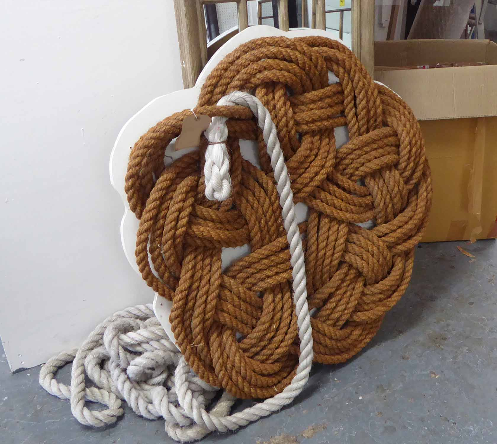 Lot 33 - ROPE WORK WALL ART, contemporary bespoke, 105cm diam plus rope.