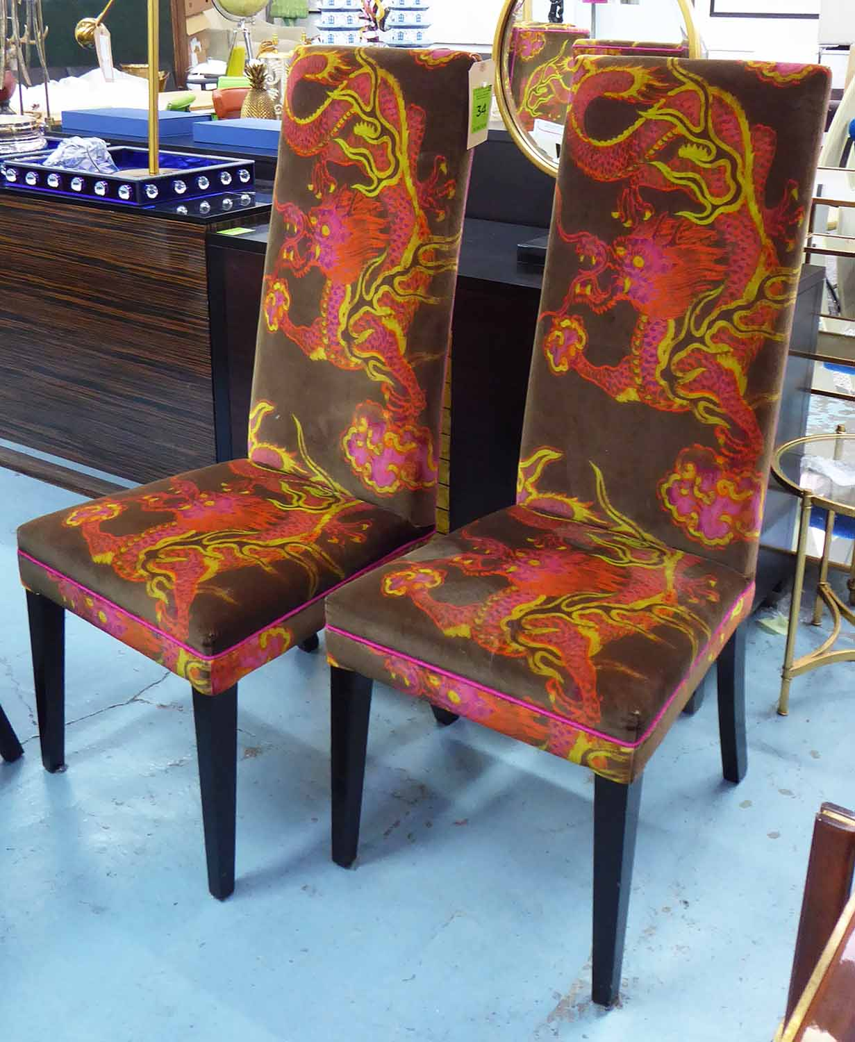 Lot 34 - DINING CHAIRS, a set of six, with Chinese dragon upholstery, 122cm H x 51cm.