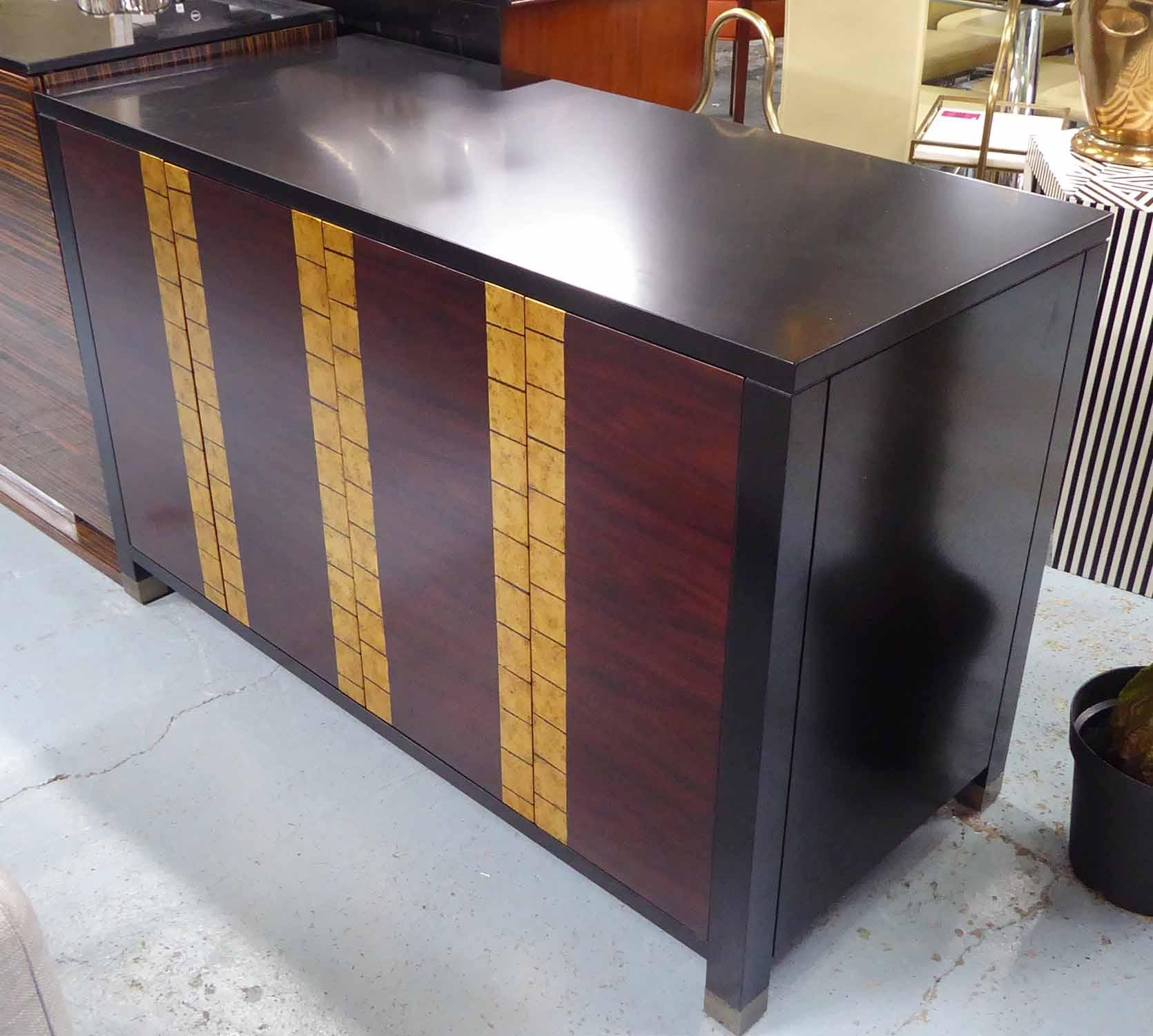Lot 7 - SIDE CABINET, contemporary design dark wood with gilt square embellished patterned doors,