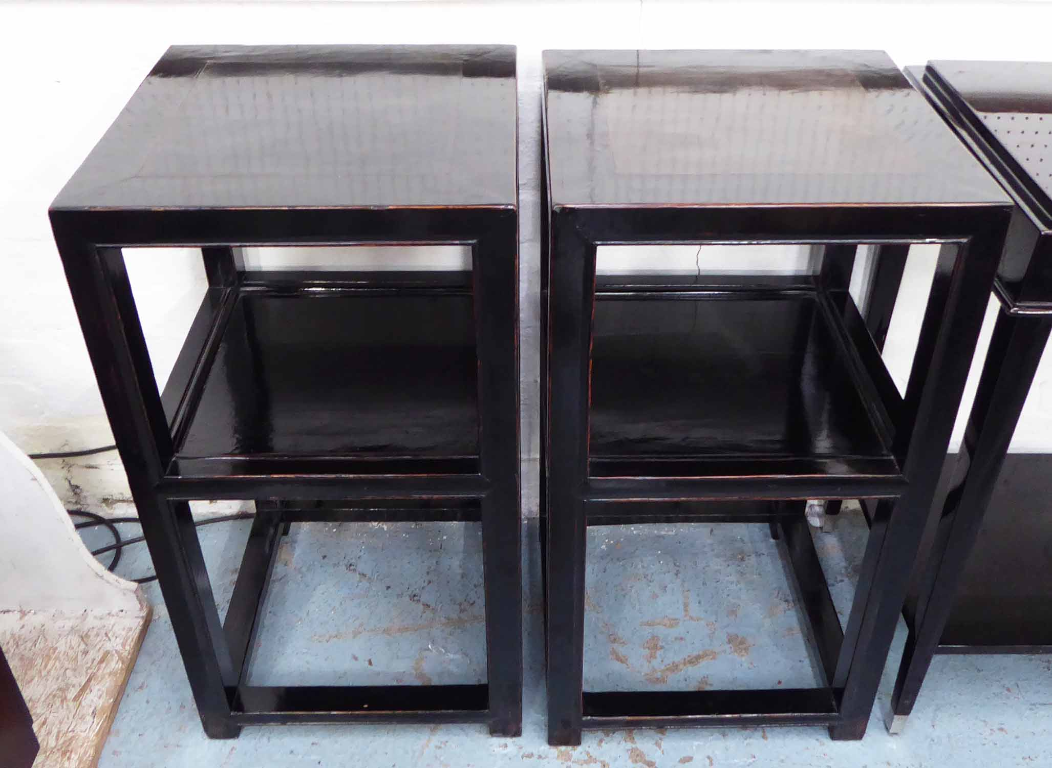 Lot 39 - CHINESE PLANTER STANDS, two, ebonised wood with a shelf, 44cm x 44cm x 85cm H.
