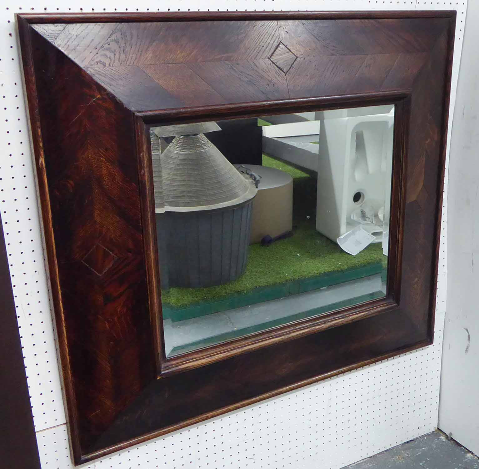 Lot 23 - WALL MIRROR, with a parquet frame and bevelled plate, 81cm x 92cm.