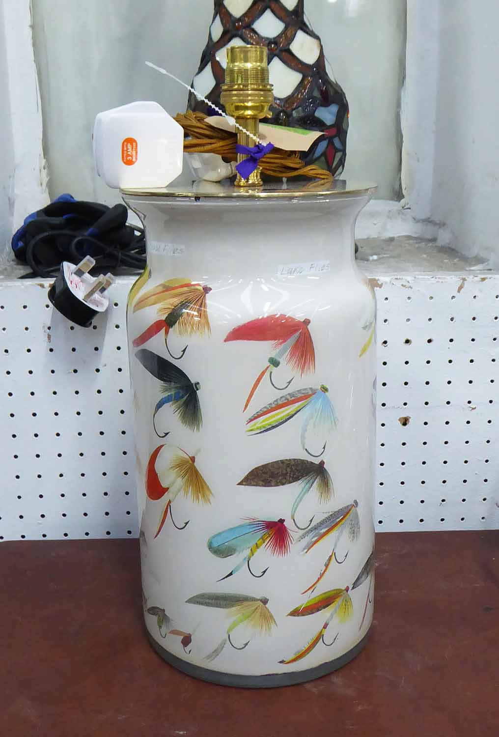 Lot 4 - POTICHOMANIA FLY FISHING TABLE LAMPS, a pair, by Diana Mayo, 38cm H.
