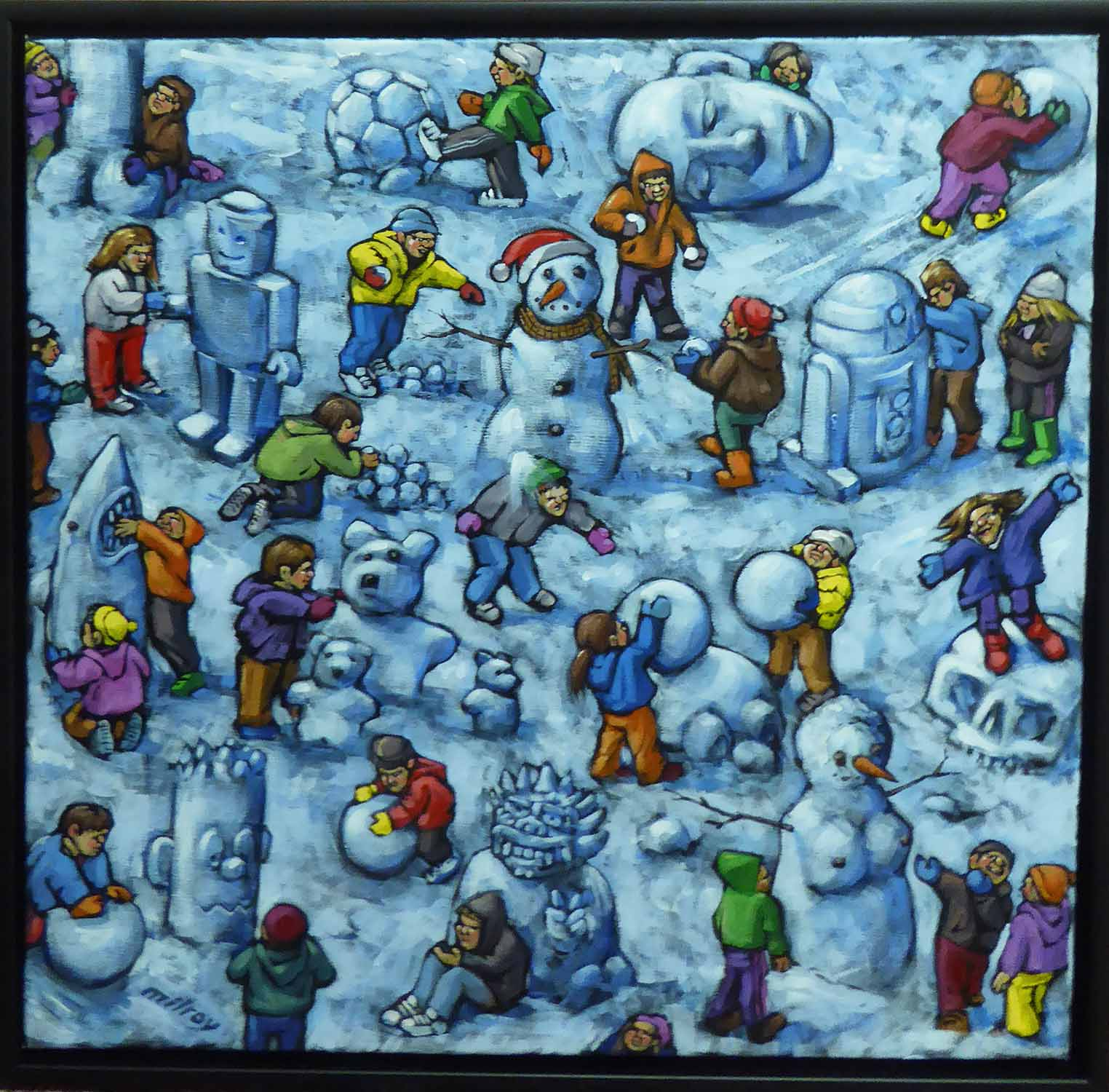 Lot 32 - JAMES MILROY (Contemporary British) 'Building Snowmen', acrylic on canvas, signed lower left,