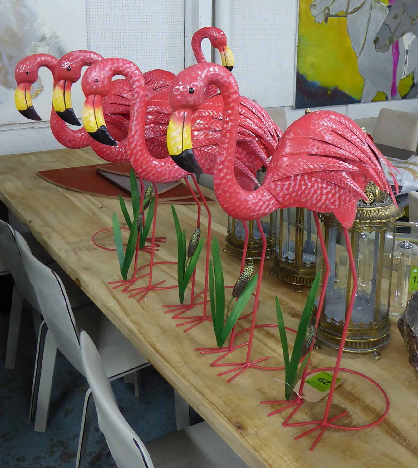 Lot 29 - FLAMINGOS, a set of six, vintage American inspired, approx. 77cm H.