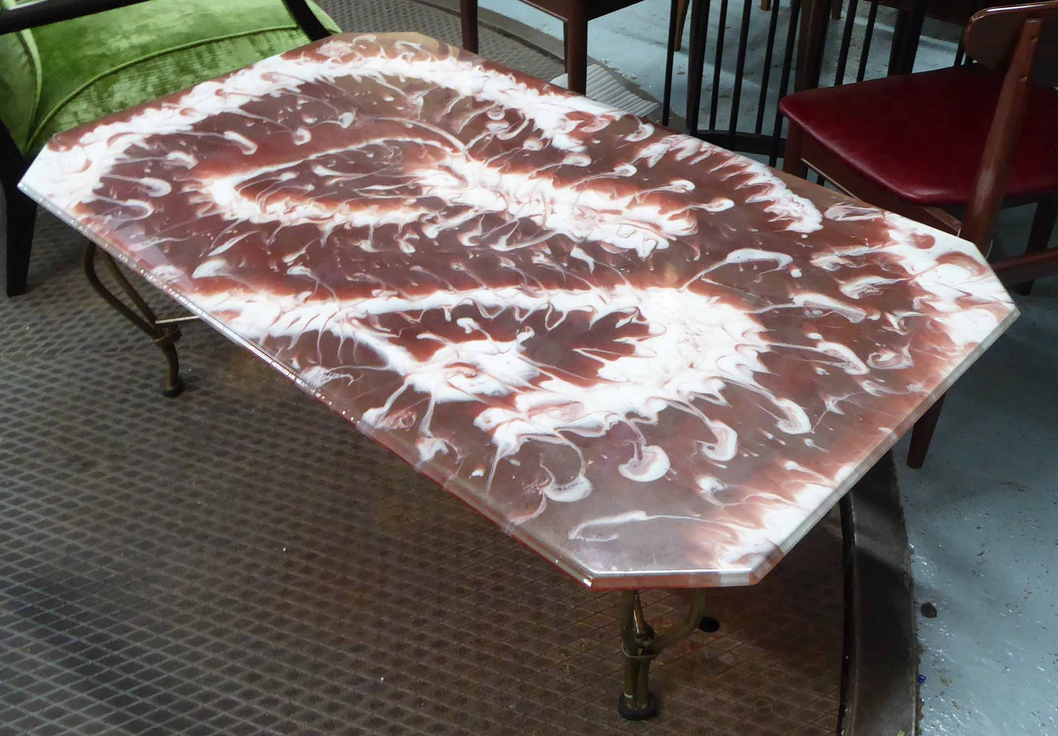Lot 40 - LOW TABLE, metal work base with bespoke epoxy resin top, 127cm x 76cm x 46cm.