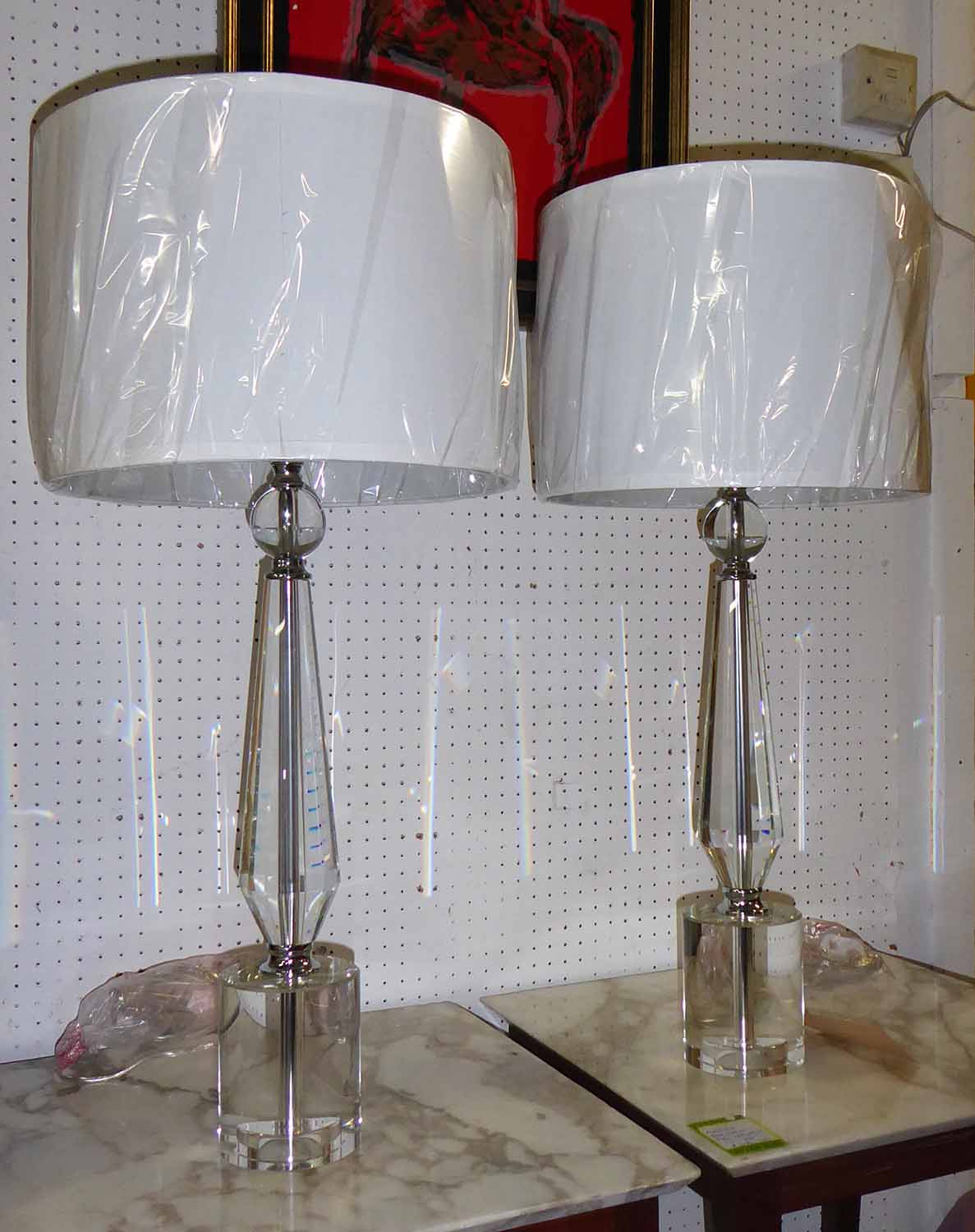 Lot 52 - TABLE LAMPS, a pair, 1950's French inspired crystal with shades, 76cm H.