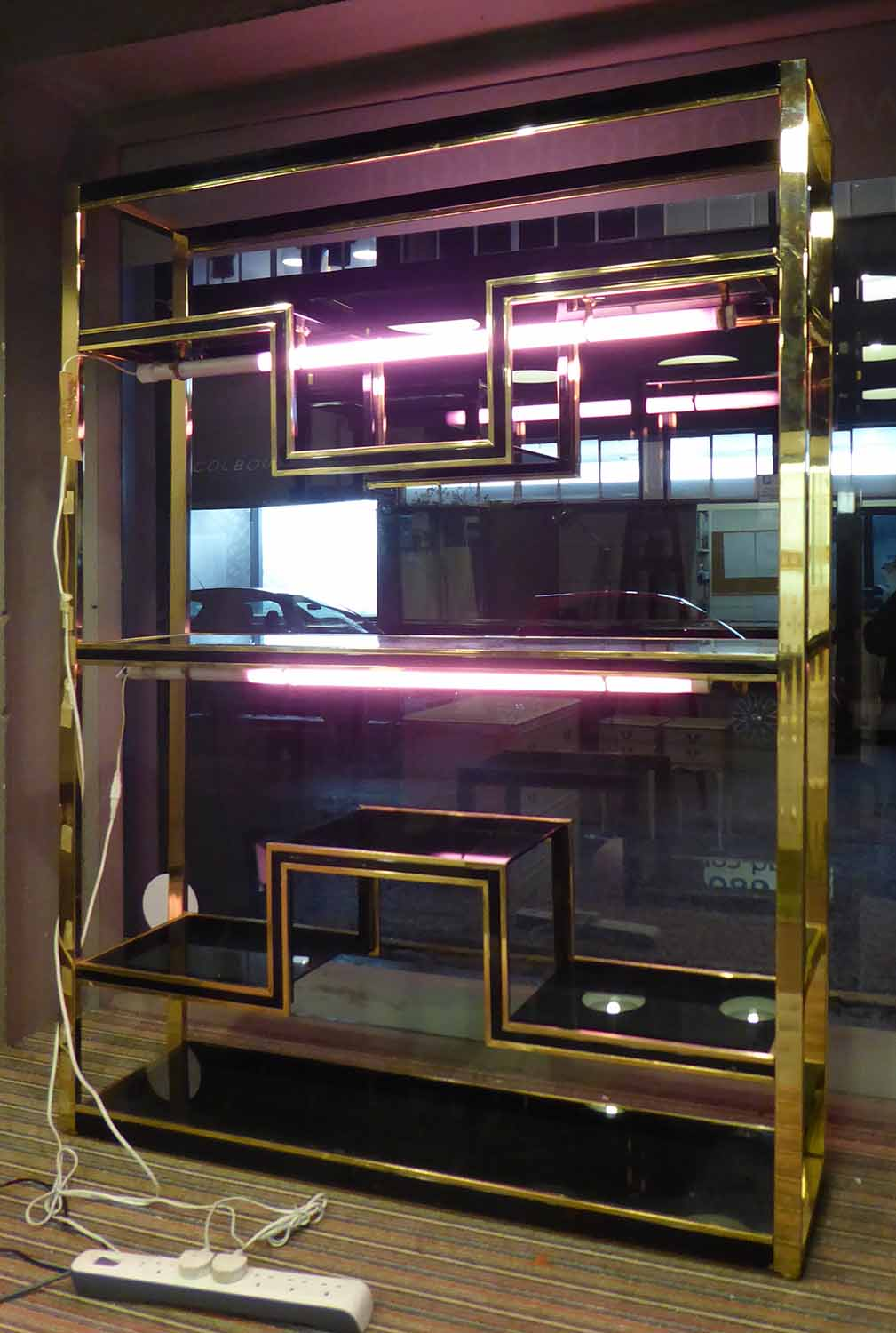 Lot 30 - COCKTAIL BAR, vintage 1960's French with later added pink neon lights, 139cm x 37cm x 182cm.