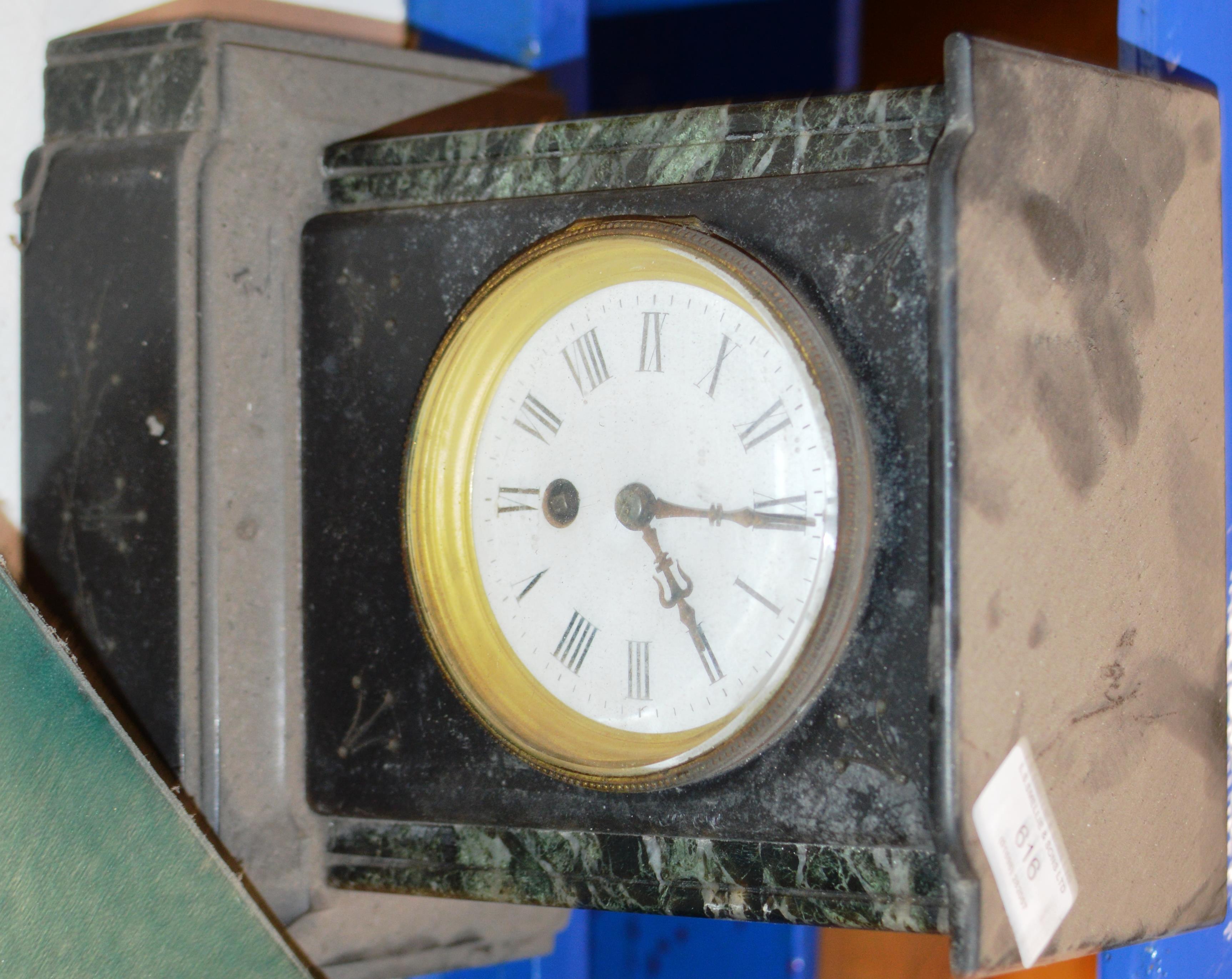 Lot 616 - VICTORIAN SLATE MANTLE CLOCK