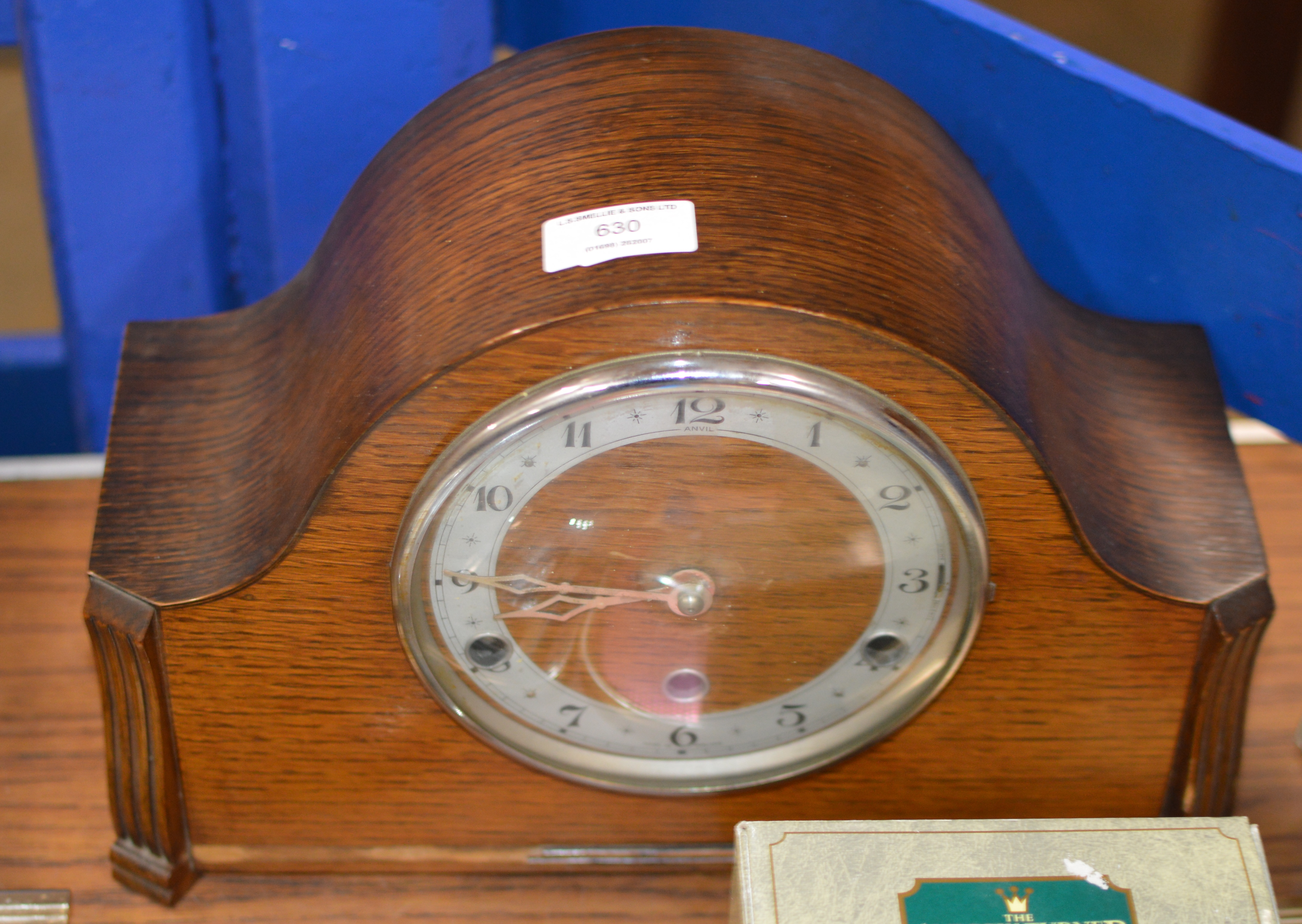 Lot 630 - OAK CASED CHIMING MANTLE CLOCK