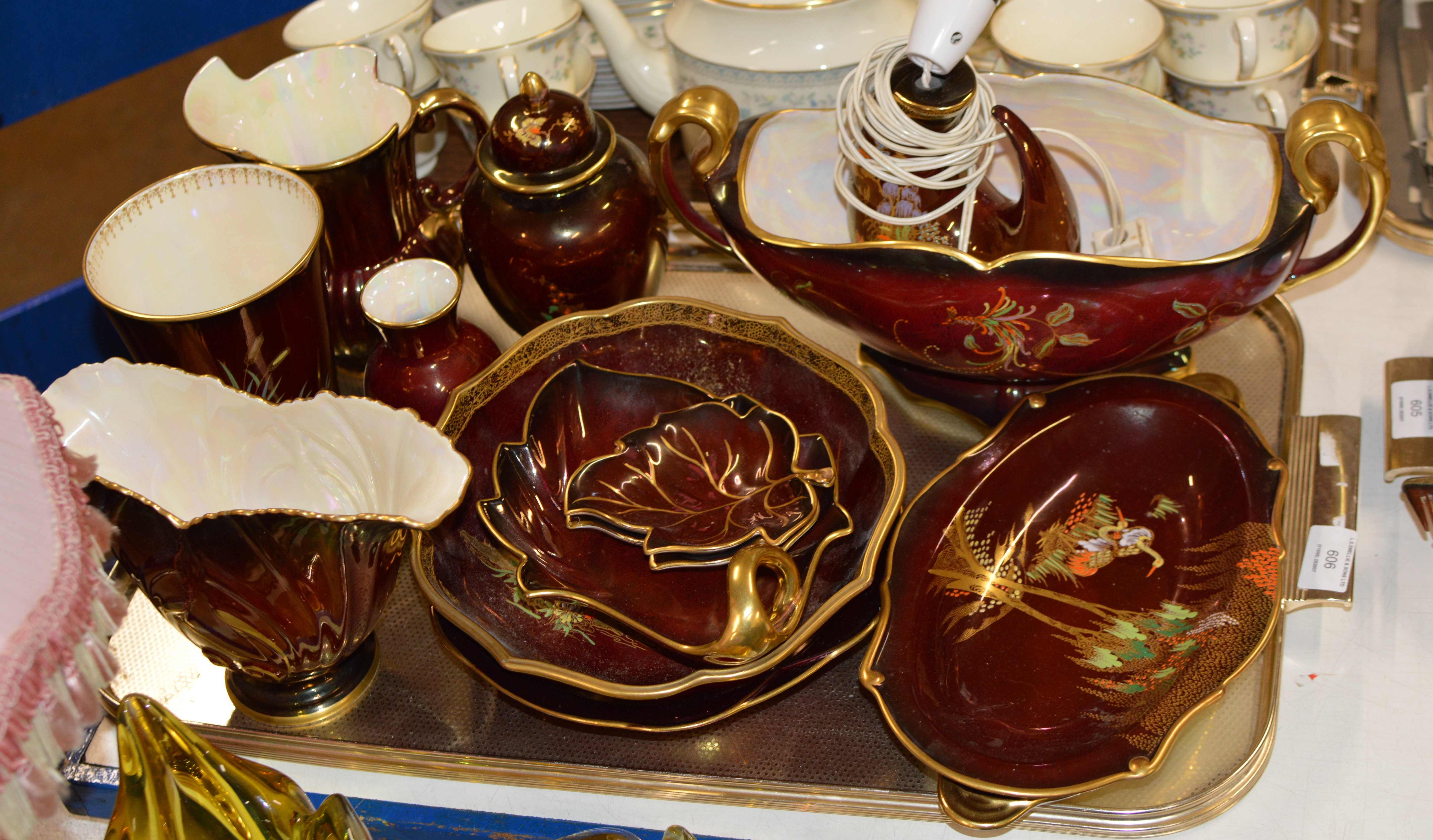 Lot 606 - TRAY CONTAINING VARIOUS CARLTON WARE ROUGE ROYALE VASES, LAMPS, JUG, PLATES, GINGER JAR ETC
