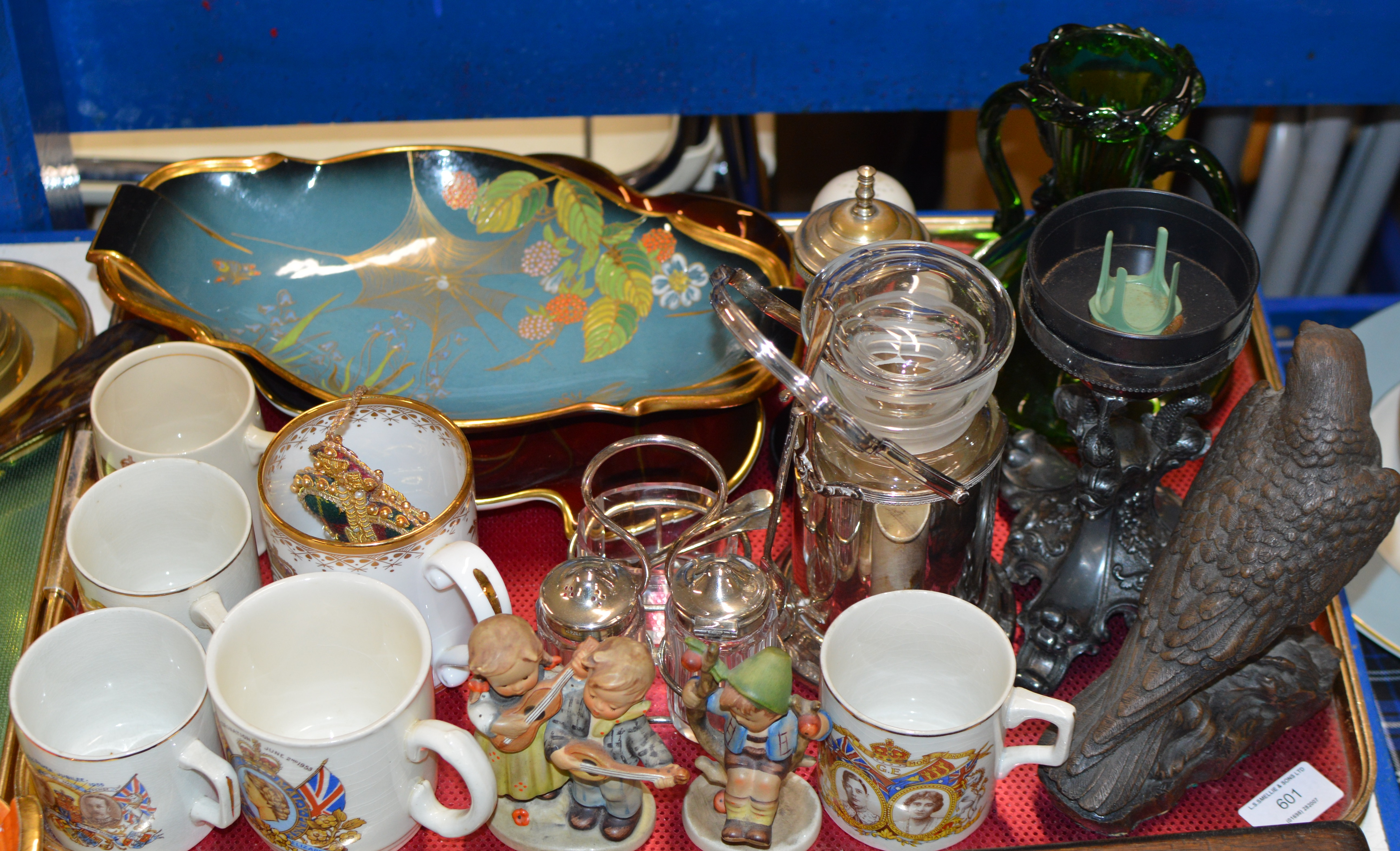 Lot 601 - TRAY CONTAINING EAGLE ORNAMENT, HUMMEL FIGURINES, CARLTON WARE DISHES, GLASS JUG, CANDLE HOLDER,