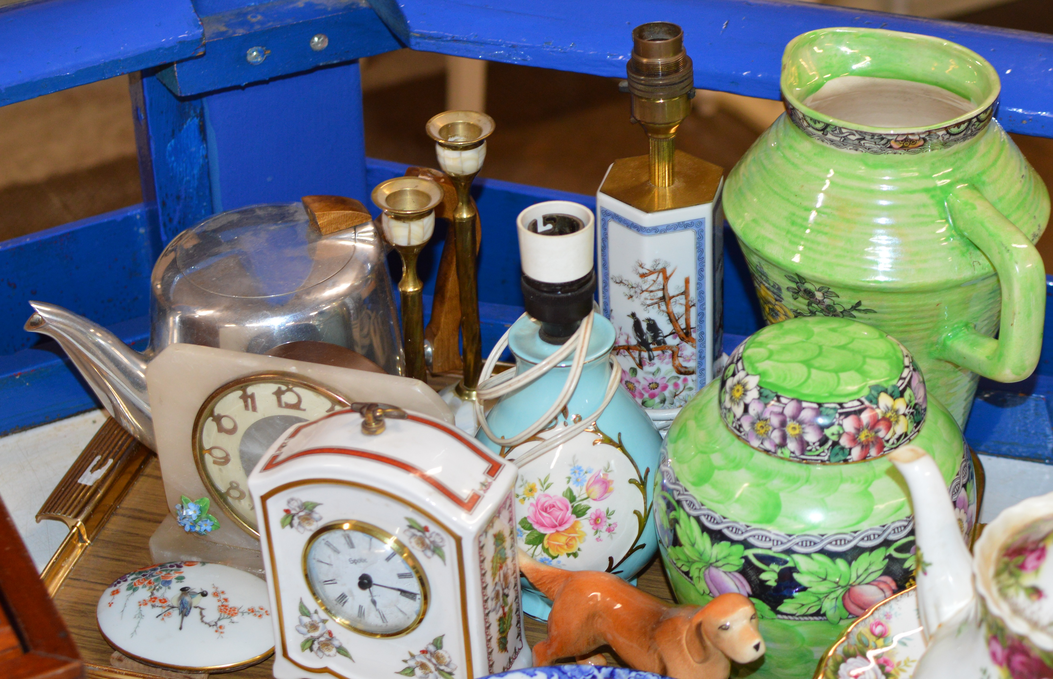 Lot 608 - TRAY CONTAINING ROYAL BRADWELL JUG, LAMPS, CANDLESTICKS, SPODE CLOCK, PICQUOT WARE TEAPOT, MANTLE