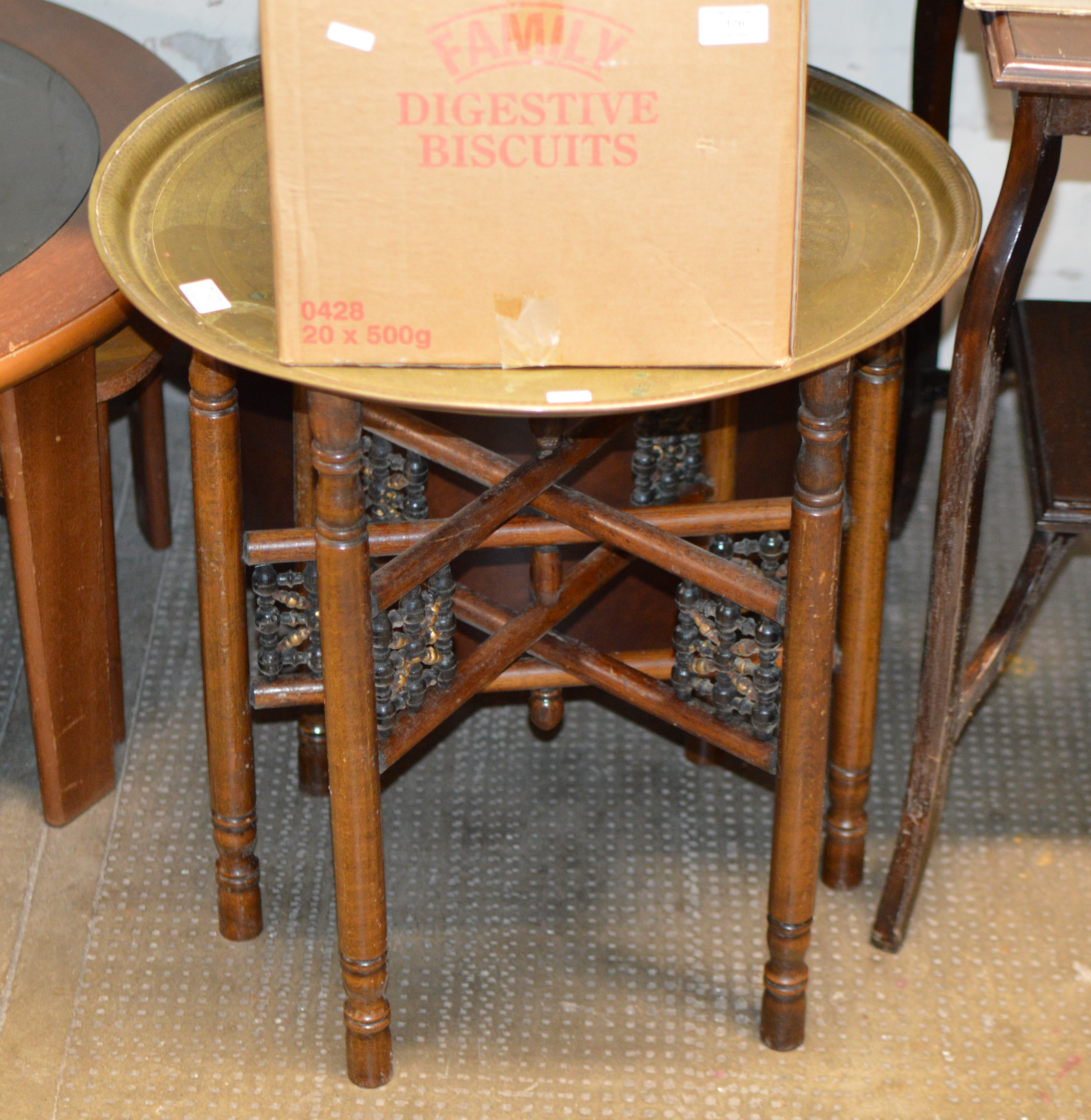 Lot 178 - EASTERN BRASS TOP OCCASIONAL TABLE