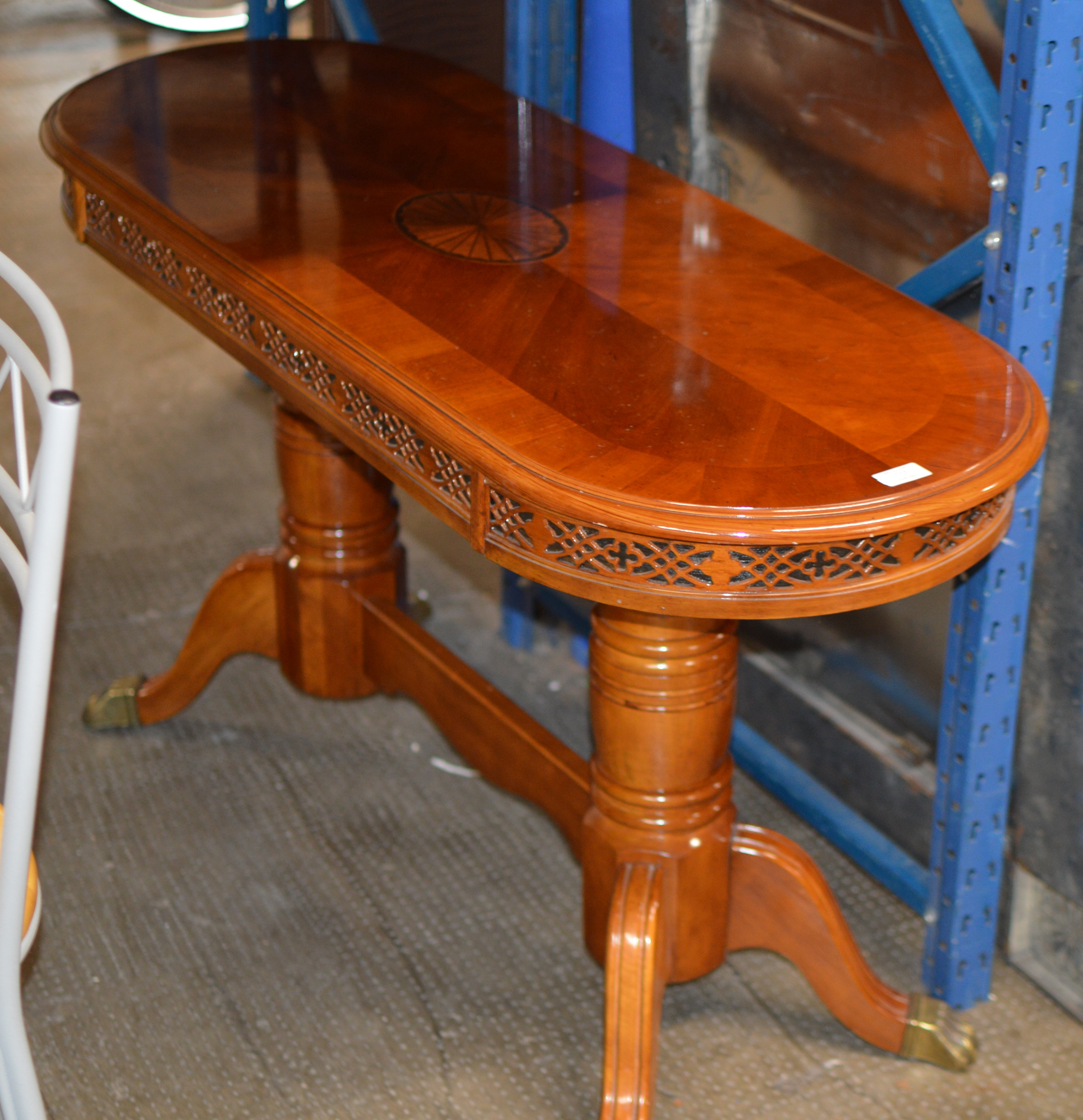 Lot 117 - REPRODUCTION YEW WOOD CONSOLE TABLE
