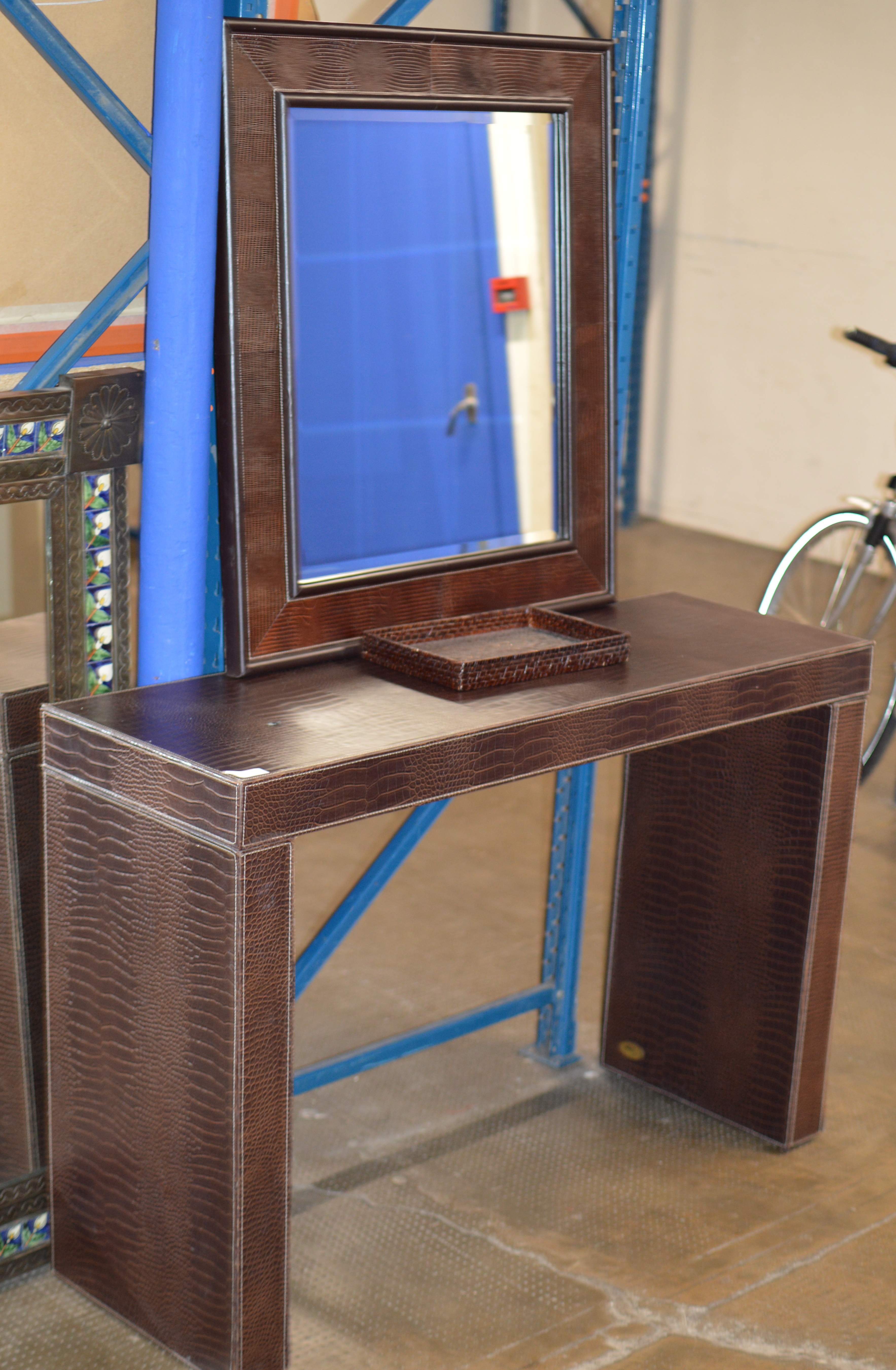 Lot 150 - MODERN LEATHER FINISHED DRESSING TABLE WITH MATCHING MIRROR
