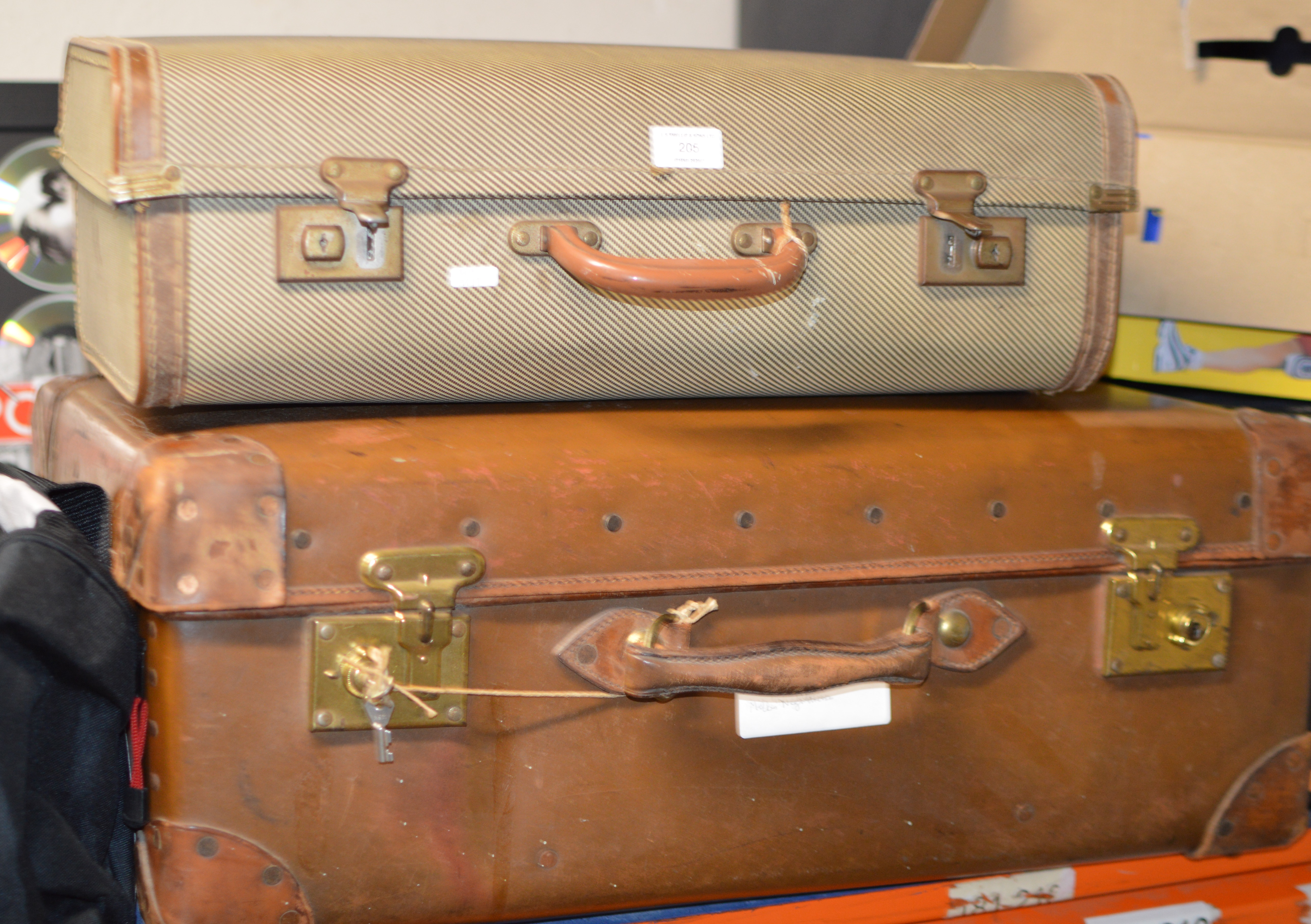 Lot 205 - 2 OLD CASES WITH LINEN