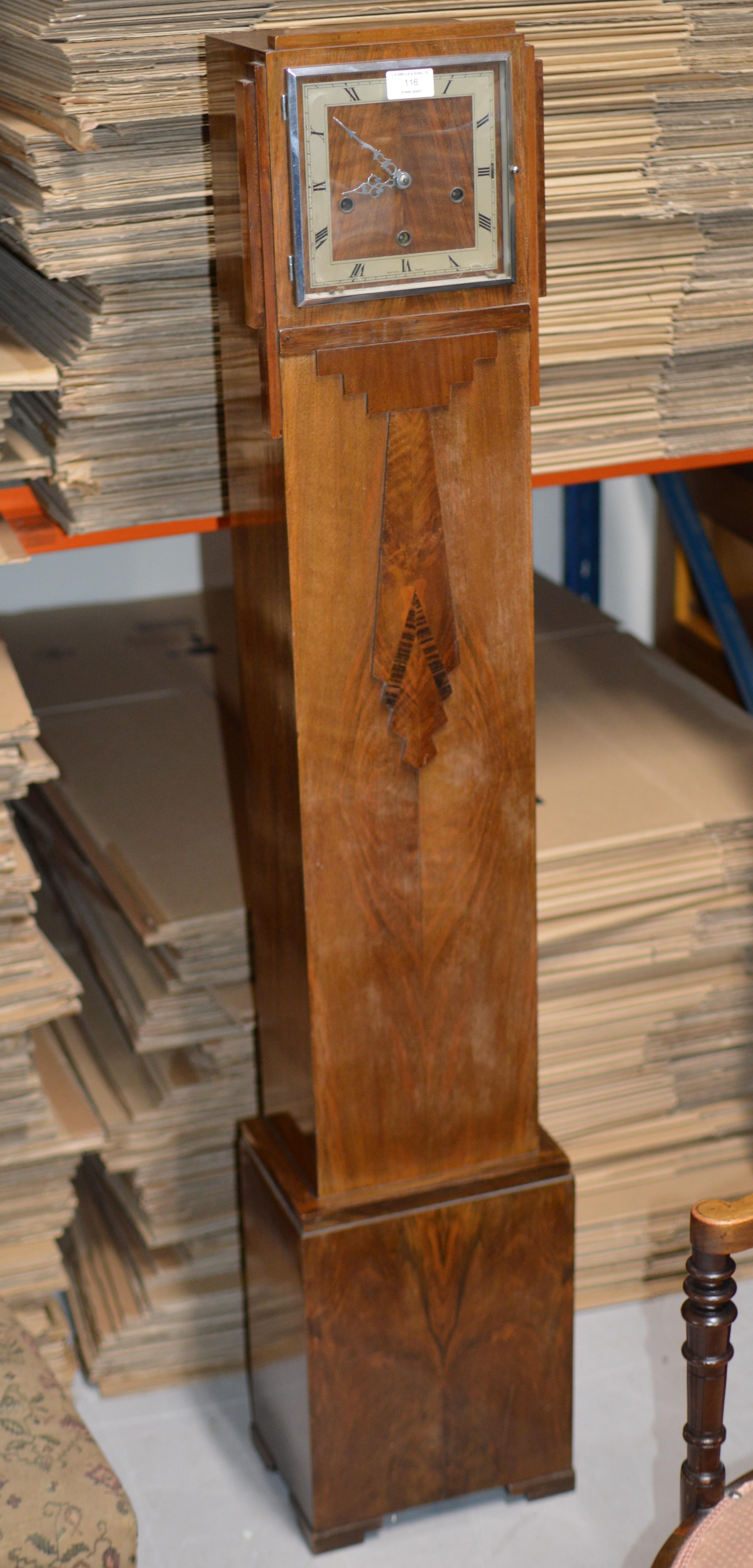 """Lot 116 - 54½"""" ART DECO WALNUT CASED CHIMING GRANDDAUGHTER CLOCK"""