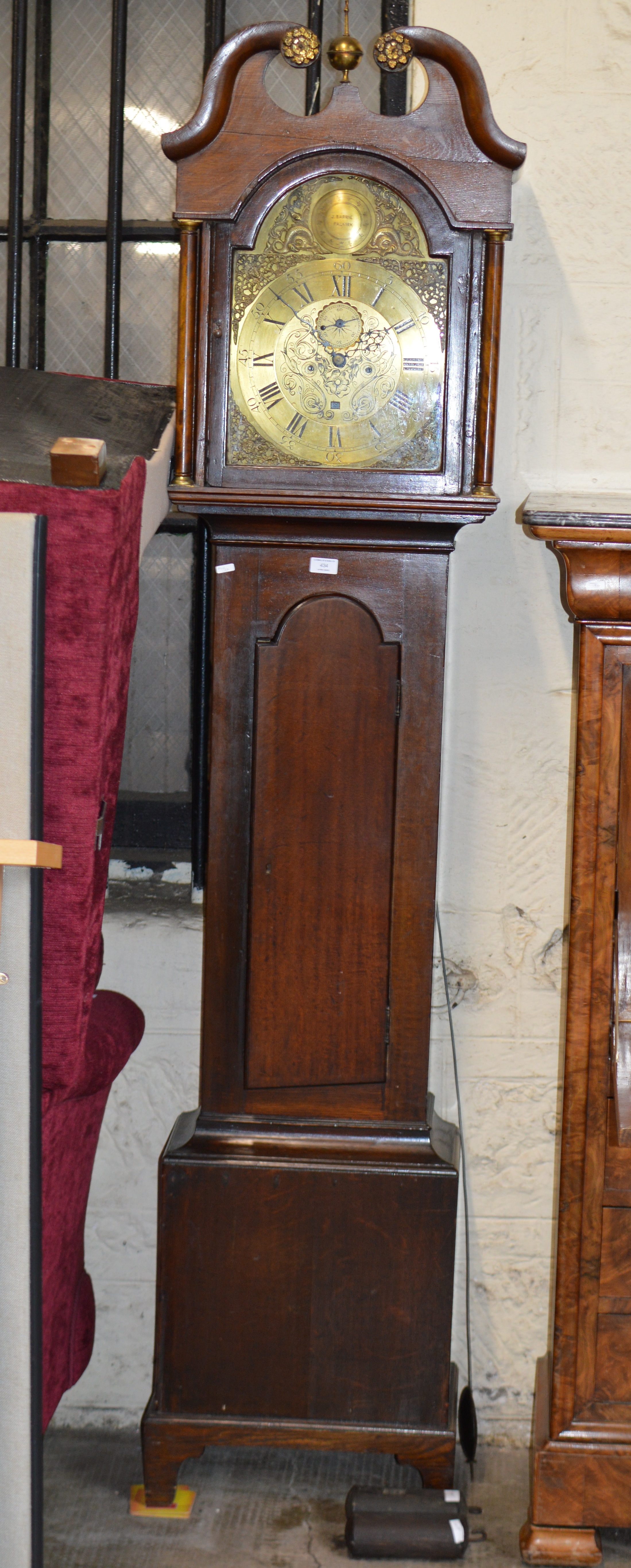 Lot 434 - MAHOGANY CASED GRANDFATHER CLOCK WITH BRASS DIAL BY J. BARRIE, FALKIRK, WITH PENDULUM & WEIGHTS