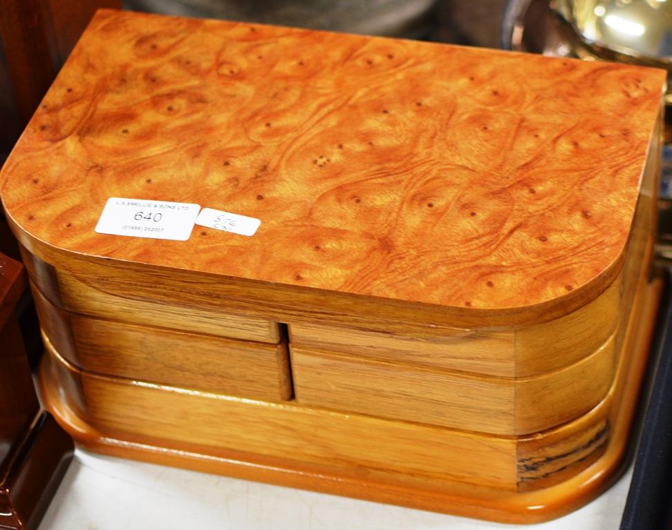 Lot 640 - PINE JEWELLERY BOX