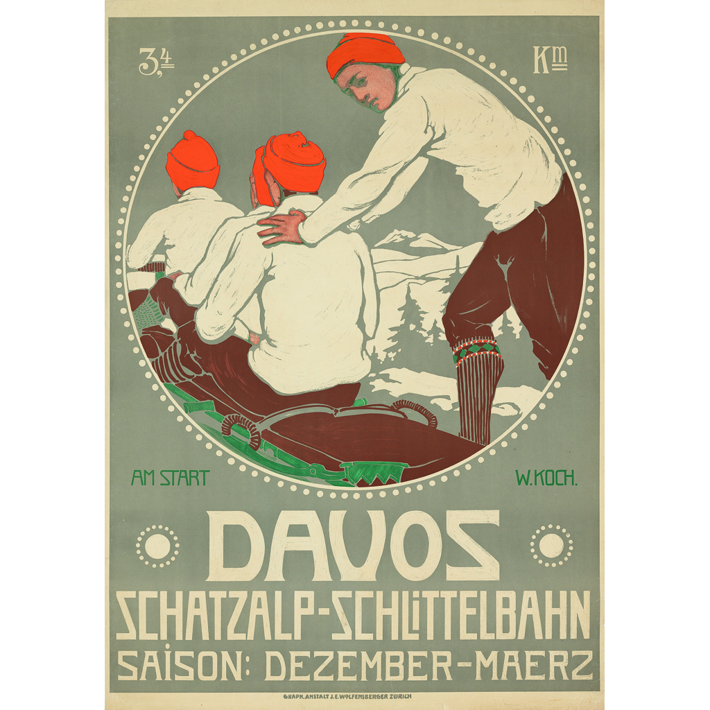 WALTER KOCH (1875-1915)DAVOS Lithograph, 1911, condition A-; backed on linen105cm x 74cm (41.5in x