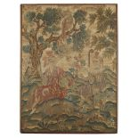 EARLY GEORGIAN PETIT POINT NEEDLEWORK PANELEARLY 18TH CENTURY of rectangular form, depicting a