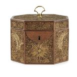 GEORGE III PAPER SCROLL TEA CADDY18TH/ EARLY 19TH CENTURY of octagonal form, the mahogany frame
