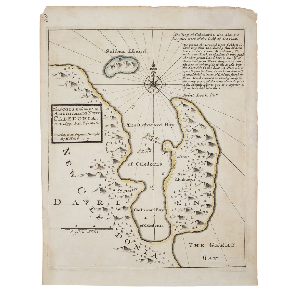 Lot 44 - MOLL, HERMANTHE SCOTS SETTLEMENT IN AMERICA CALLED NEW CALEDONIA 1729, 290 x 226mm, hand-coloured in