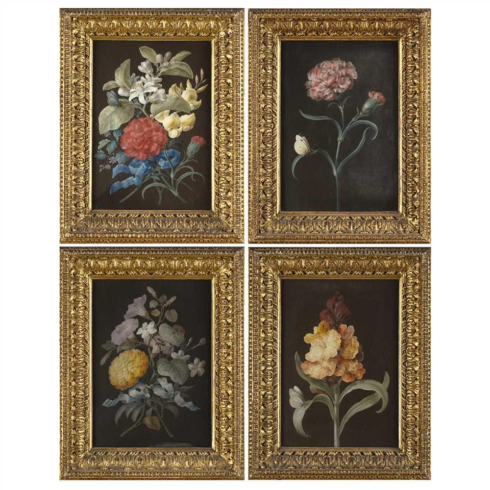 BARBARA REGINA DIETZSCH (GERMAN 1706-1783) SET OF FOUR STILL LIFES WITH BUTTERFLIES Gouache on paper