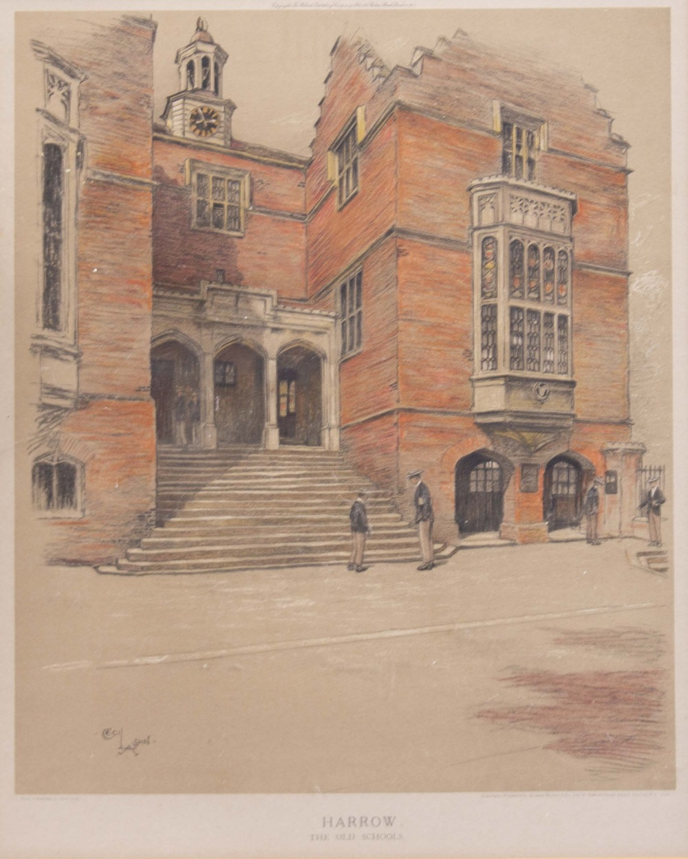 Lot 430 - AFTER CECIL ALDIN 'Harrow Old School', lithograph, 39cm x 33cm together with a 19th century