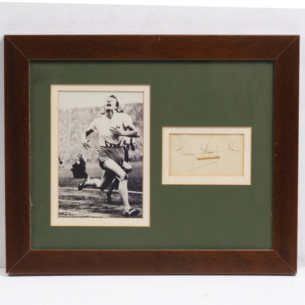 Lot 2 - SIGNATURE OF 'THE FLYING HOUSEWIFE' FANNY BLANKERS-KOEN mounted and framed with a photograph