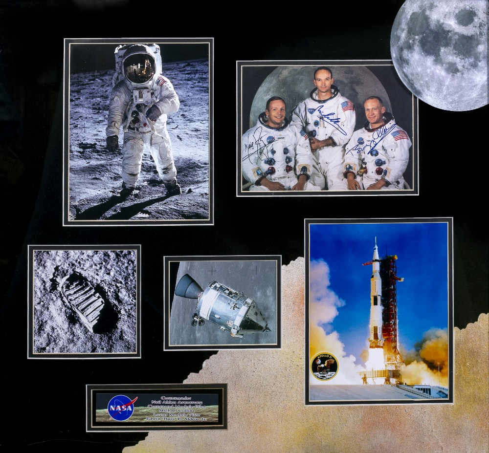 Lot 31 - BUZZ ALDRIN, NEIL ARMSTRONG, MICHAEL COLLINS SIGNATURES to an Apollo 11 photo, mounted in a