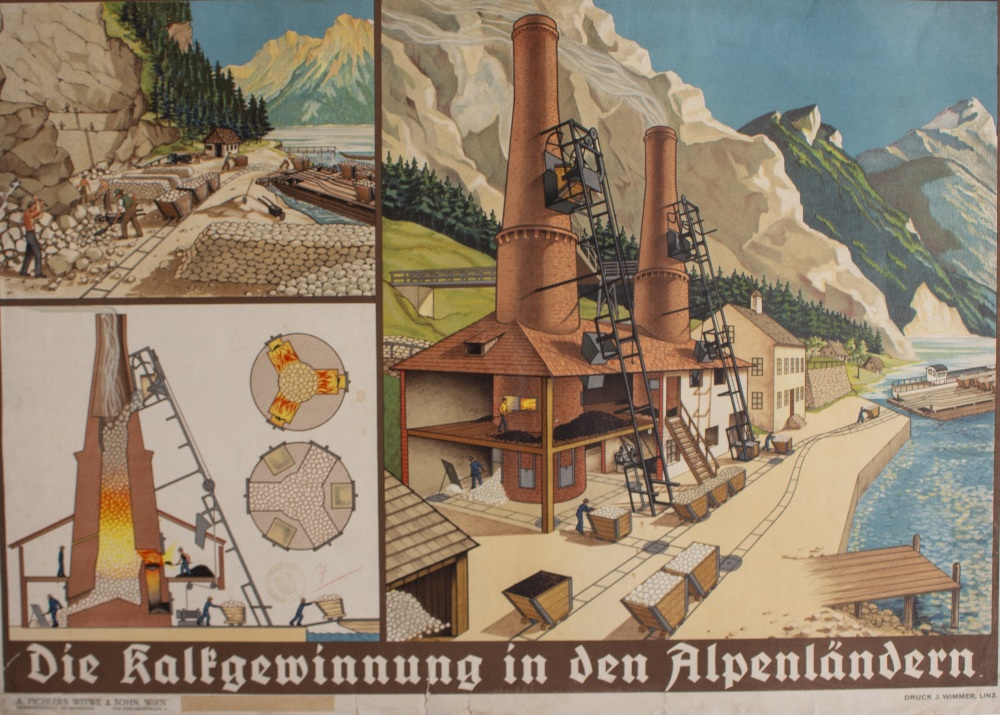 Lot 51 - A PAIR OF CONTINENTAL EDUCATIONAL POSTERS one depicting a sawmill, 97.5cm x 68.5cm; another