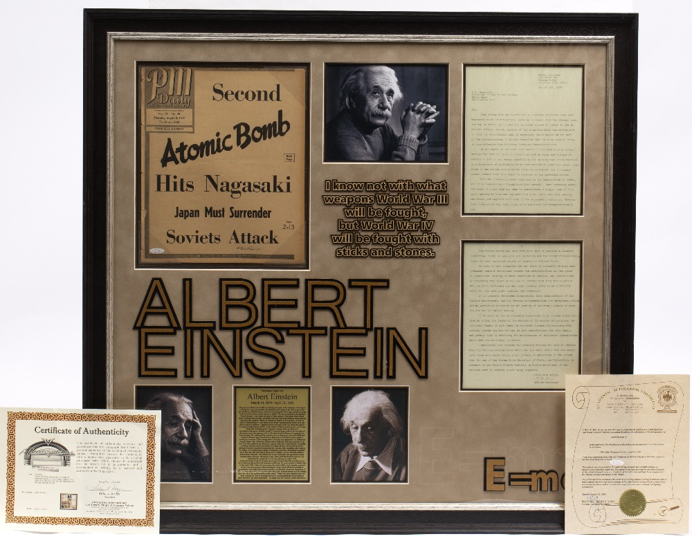 Lot 12 - ALBERT EINSTEIN SIGNATURE ON A PM DAILY NEWSPAPER COVER AUGUST 9 1945 reporting the atomic bomb on
