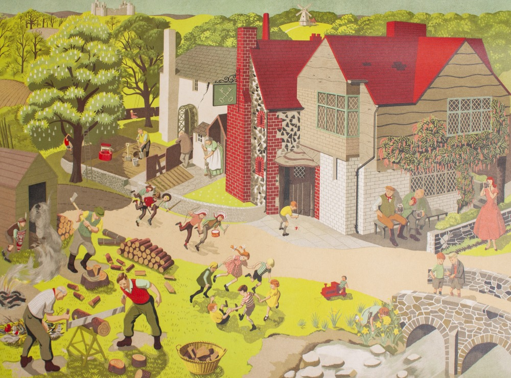 Lot 57 - A MID 20TH CENTURY BRITISH GENERAL SERVICE WALL PICTURE NUMBER 3 depicting The Cross Keys Pub with