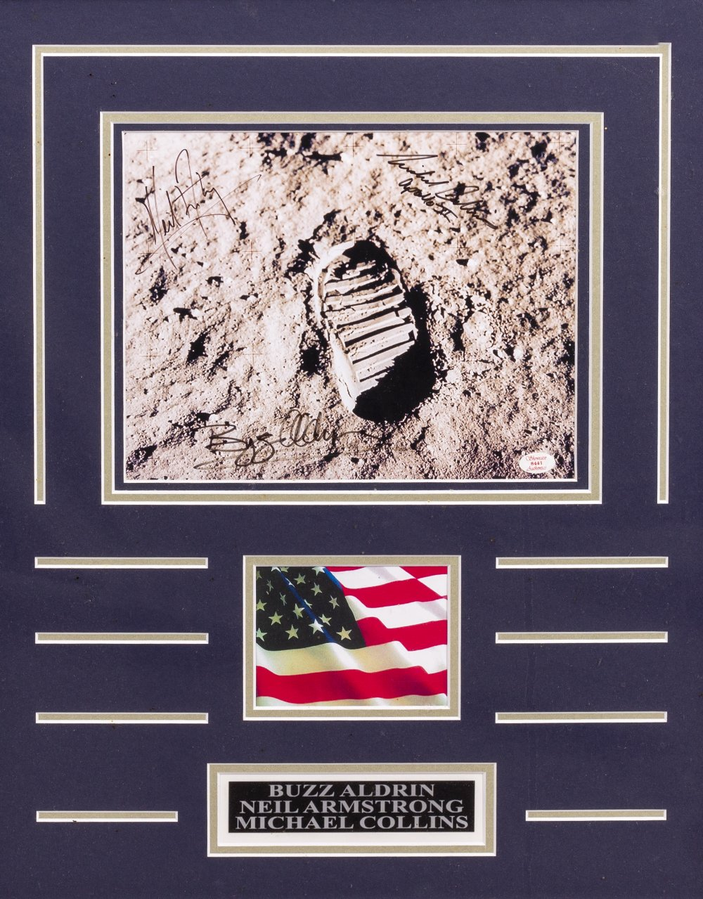 Lot 30 - BUZZ ALDRIN, NEIL ARMSTRONG, MICHAEL COLLINS SIGNATURES to an Apollo 11 'lunar footprint' photo,