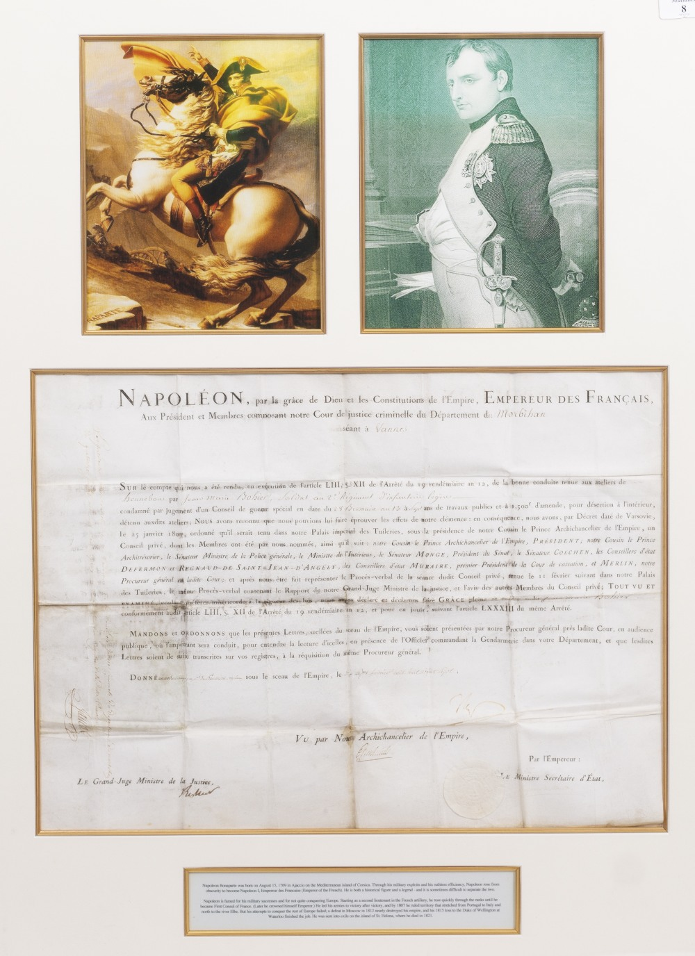 Lot 8 - NAPOLEON BONAPARTE DOCUMENT concerning the punishment of a soldier accused of desertion, dated 7th