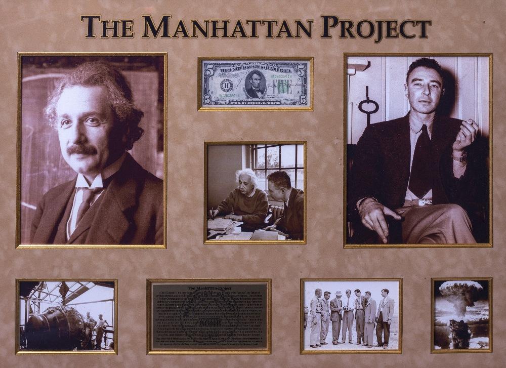 Lot 13 - ALBERT EINSTEIN AND ROBERT OPPENHEIMER SIGNATURES on a $5 bill mounted and framed with a Manhattan