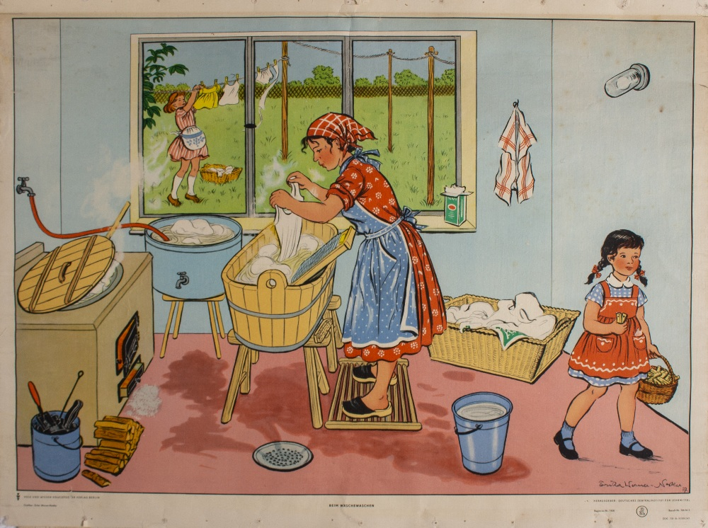 Lot 52 - A PAIR OF CONTINENTAL EDUCATIONAL POSTERS depicting a mother and her children doing housework,