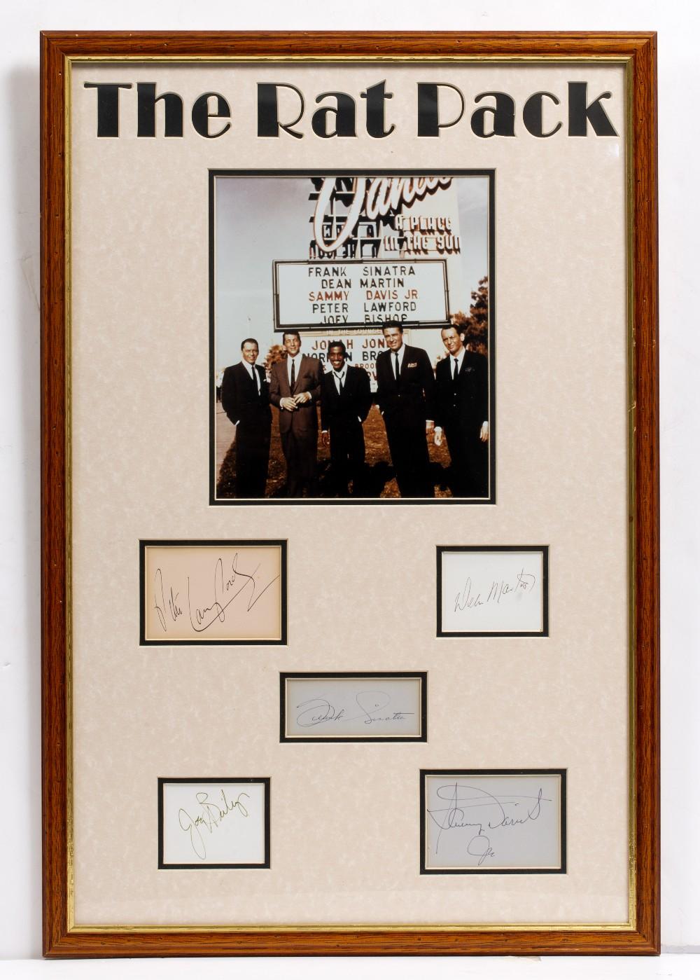 Lot 20 - 'THE RAT PACK' SIGNATURES Frank Sinatra, Dean Martin, Sammy Davis Jr, Peter Lawford and Joey Bishop,