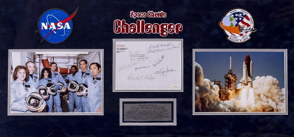 Lot 29 - SIGNED CREW AUTOGRAPHS OF SPACE SHUTTLE CHALLENGER Francis Scobee, Michael J. Smith, Judith