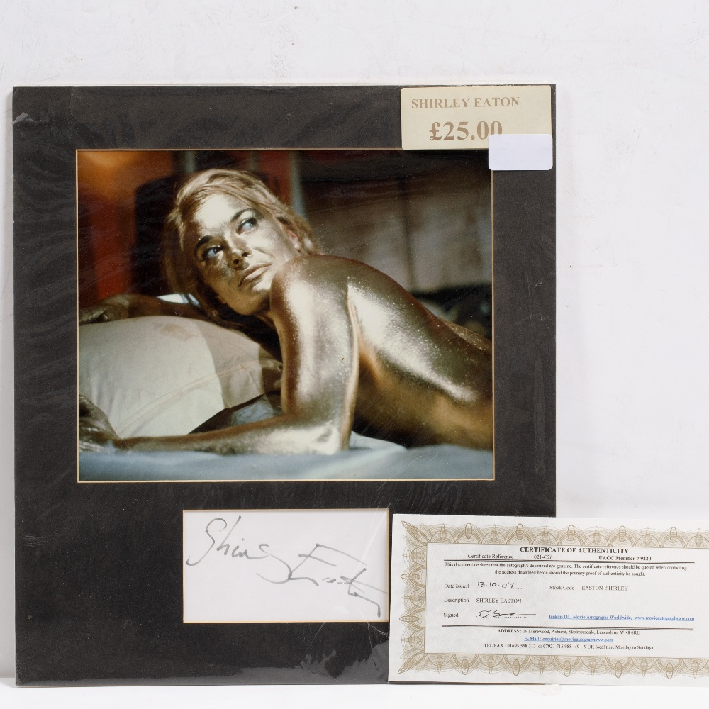 Lot 19 - A SHIRLEY EATON SIGNATURE together with a photo still from the film 'Goldfinger'