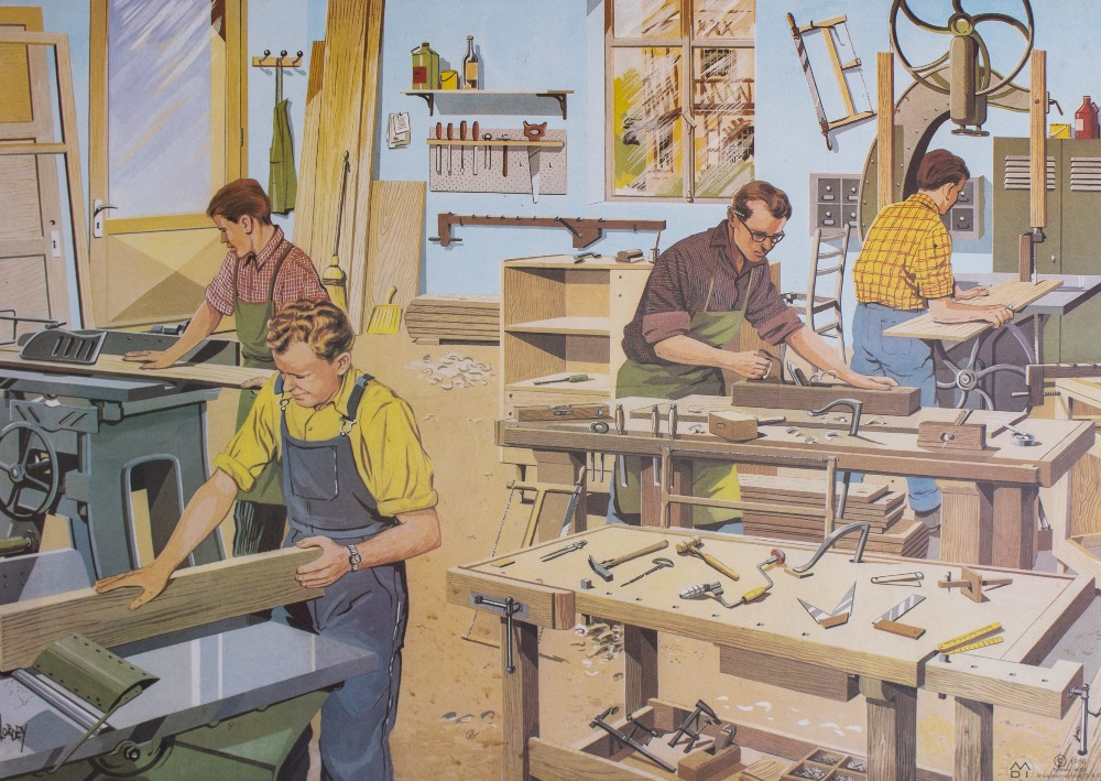 Lot 40 - A GROUP OF THREE 1960'S EDUCATIONAL POSTERS depicting factories - the dairy, the brickyard and the