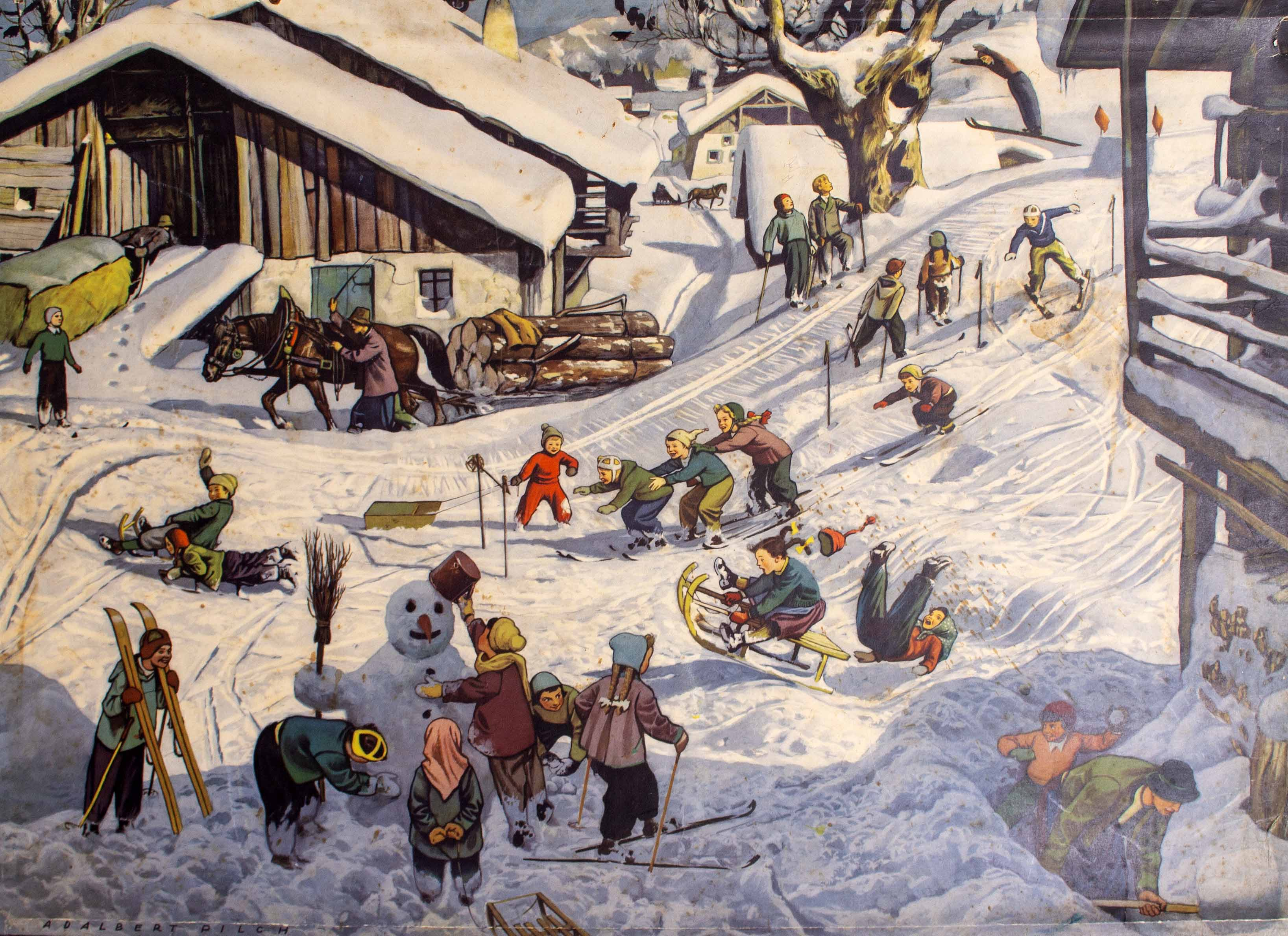 Lot 41 - A GERMAN MID 20TH CENTURY EDUCATIONAL POSTER depicting a winter scene, after an original picture