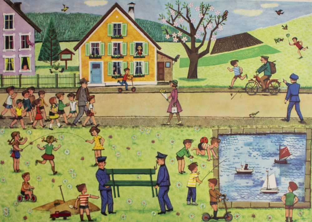 Lot 50 - A PAIR OF CONTINENTAL EDUCATIONAL LITHOGRAPHIC POSTERS depicting a town with a park in spring and