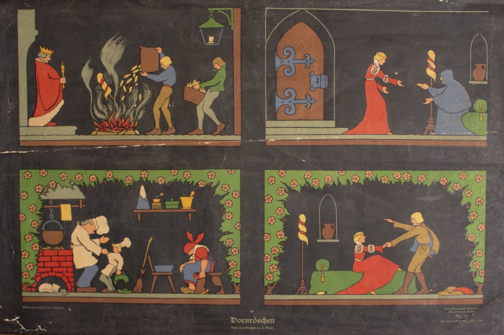 Lot 54 - A PAIR OF CONTINENTAL NURSERY PICTURE POSTERS one depicting Sleeping Beauty, the other depicting the